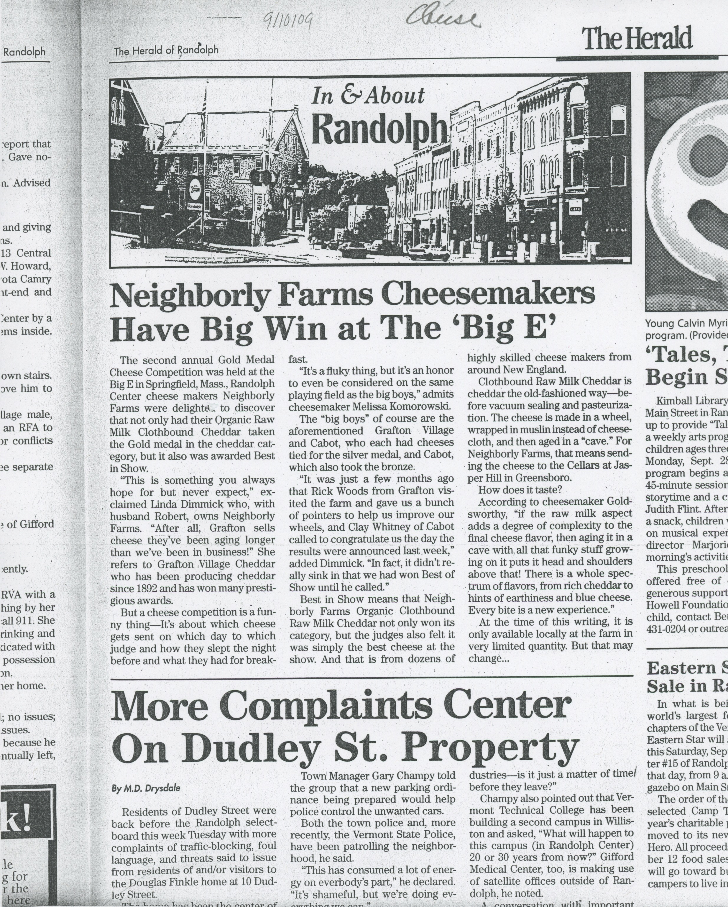 """Neighborly farms cheesemakers have big win at the 'Big E,'"" The Herald of Randolph, 2009"