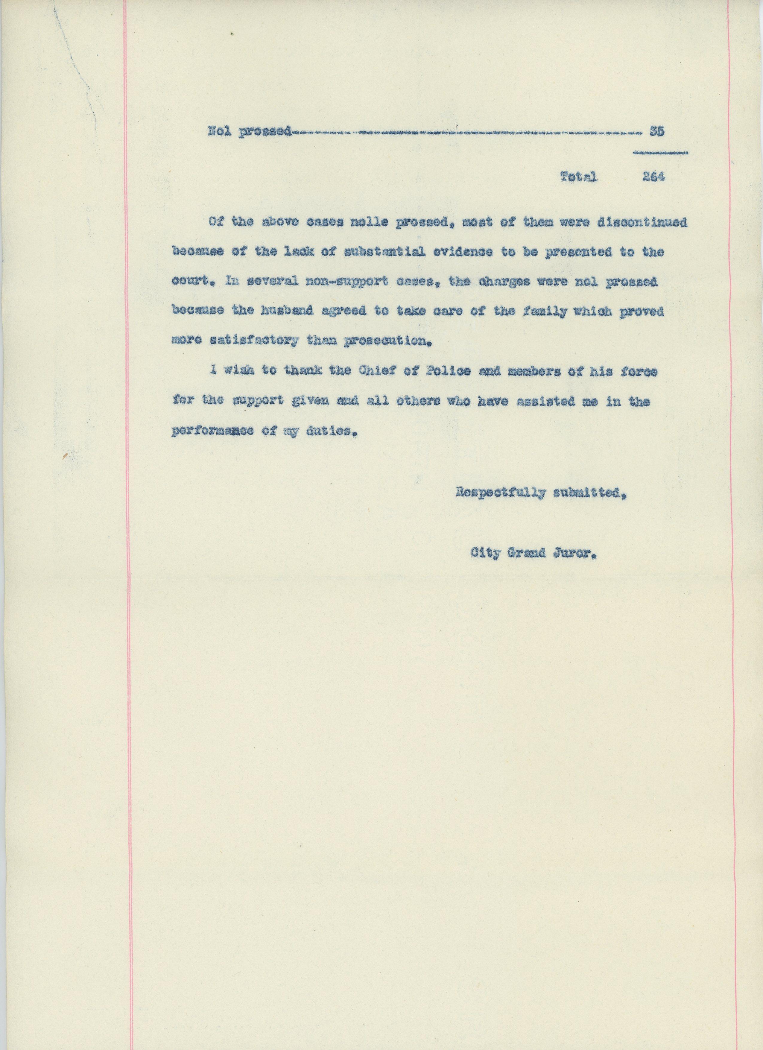 Report of the City Grand Juror, 1926