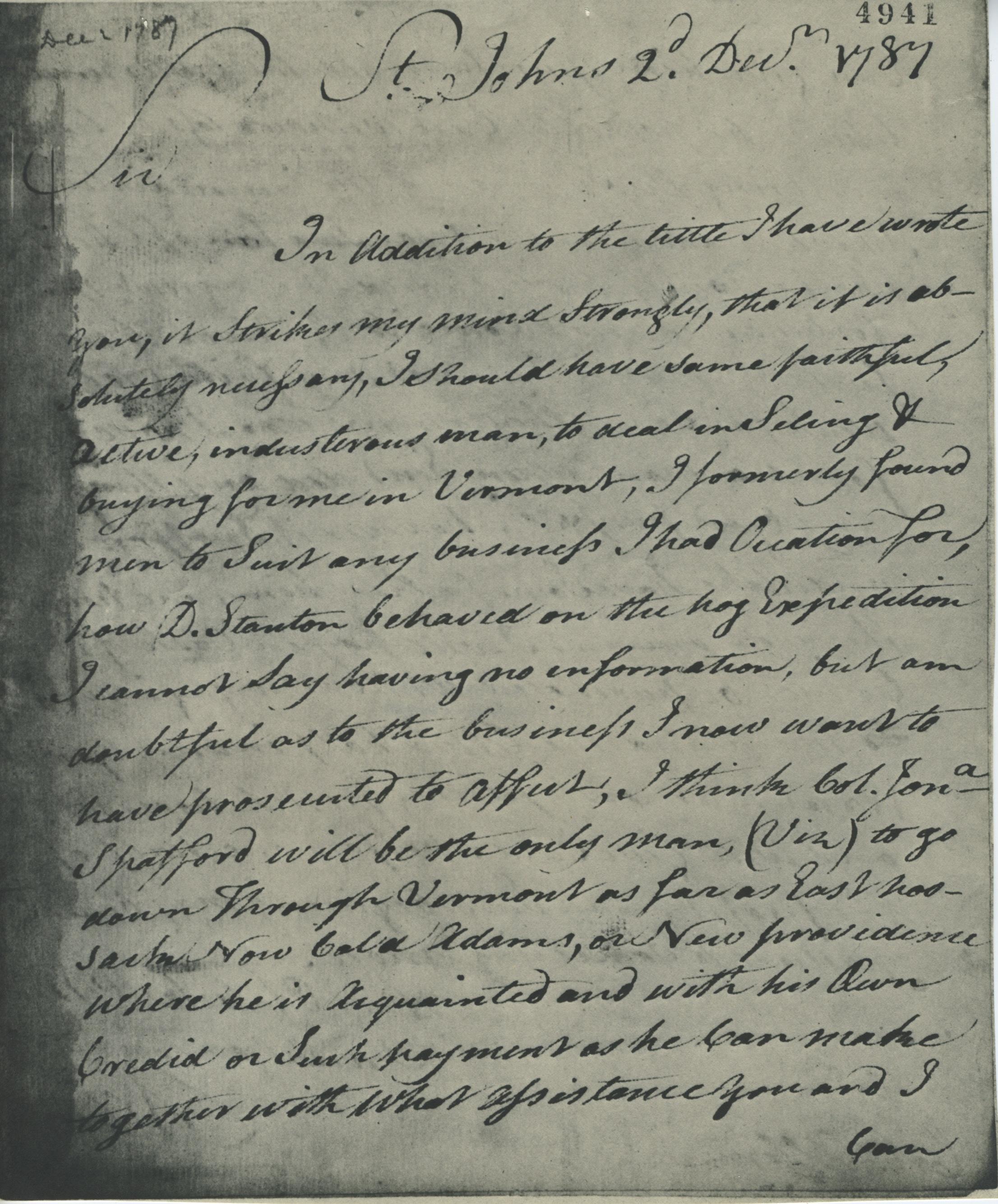 Letter to Ira Allen from Levi Allen, 1787
