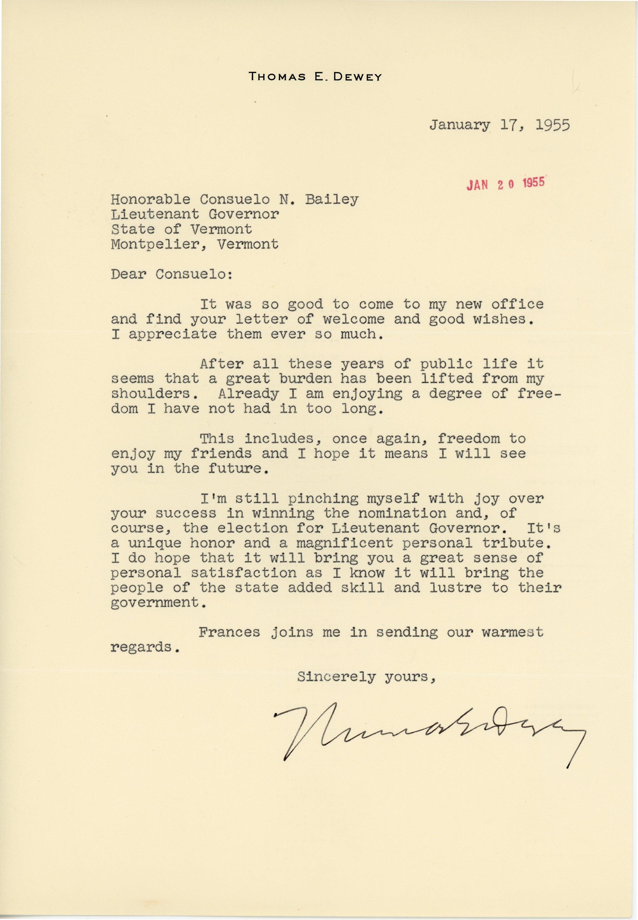 Letter from Thomas Dewey to Consuelo Northrop Bailey, 1955 January 17