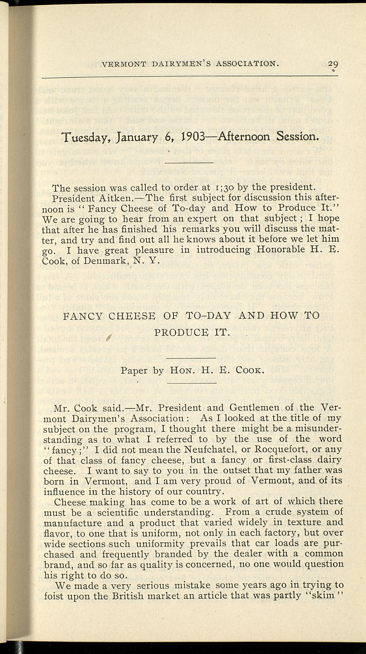 """Report of the Thirty-Third Annual Meeting of the Vermont Dairymen's Association, 1903; """"Fancy Cheese Today and How to Produce it."""