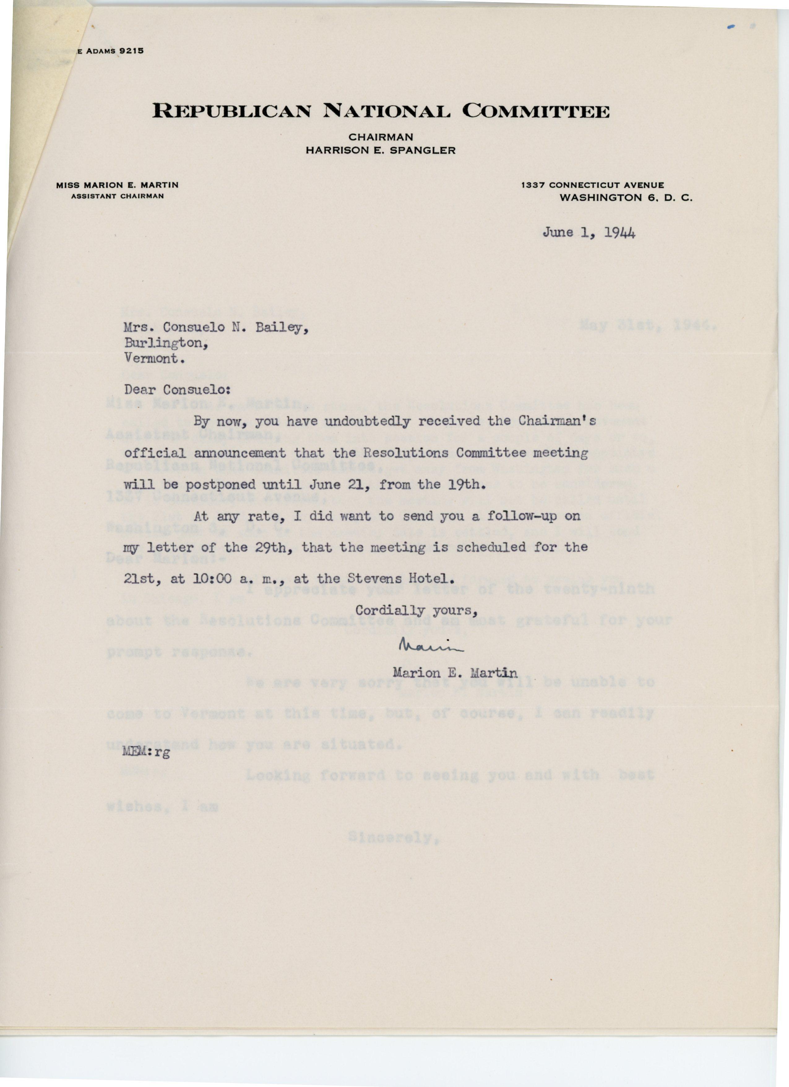 Marion E. Martin to Consuelo Northrop Bailey 1944 June 1