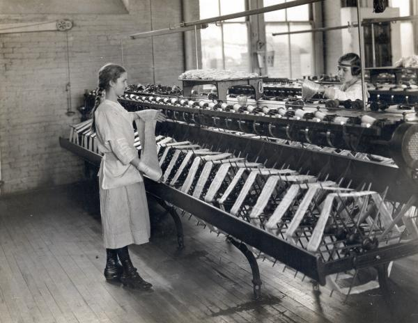 Winding silk at the Sauquoit Silk Manufacturing Company, Philadelphia, PA, March 27, 1918.