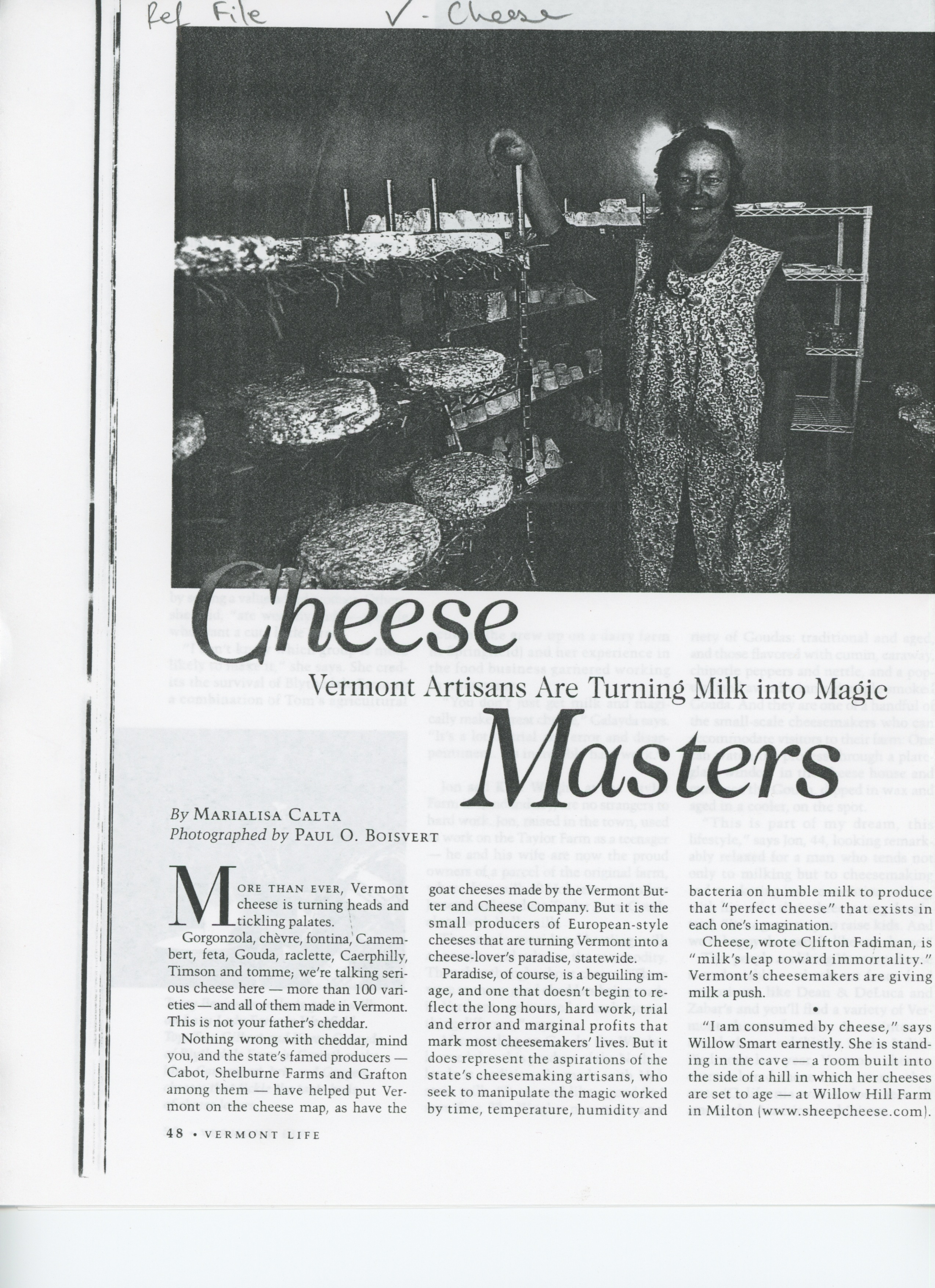 """""""Cheese Masters: Vermont Artisans are Turning Milk into Magic,"""" Vermont Life, by Marialisa Calta, 2002 (PART 1: pgs. 48-9, finish paragraph on pg. 50)"""
