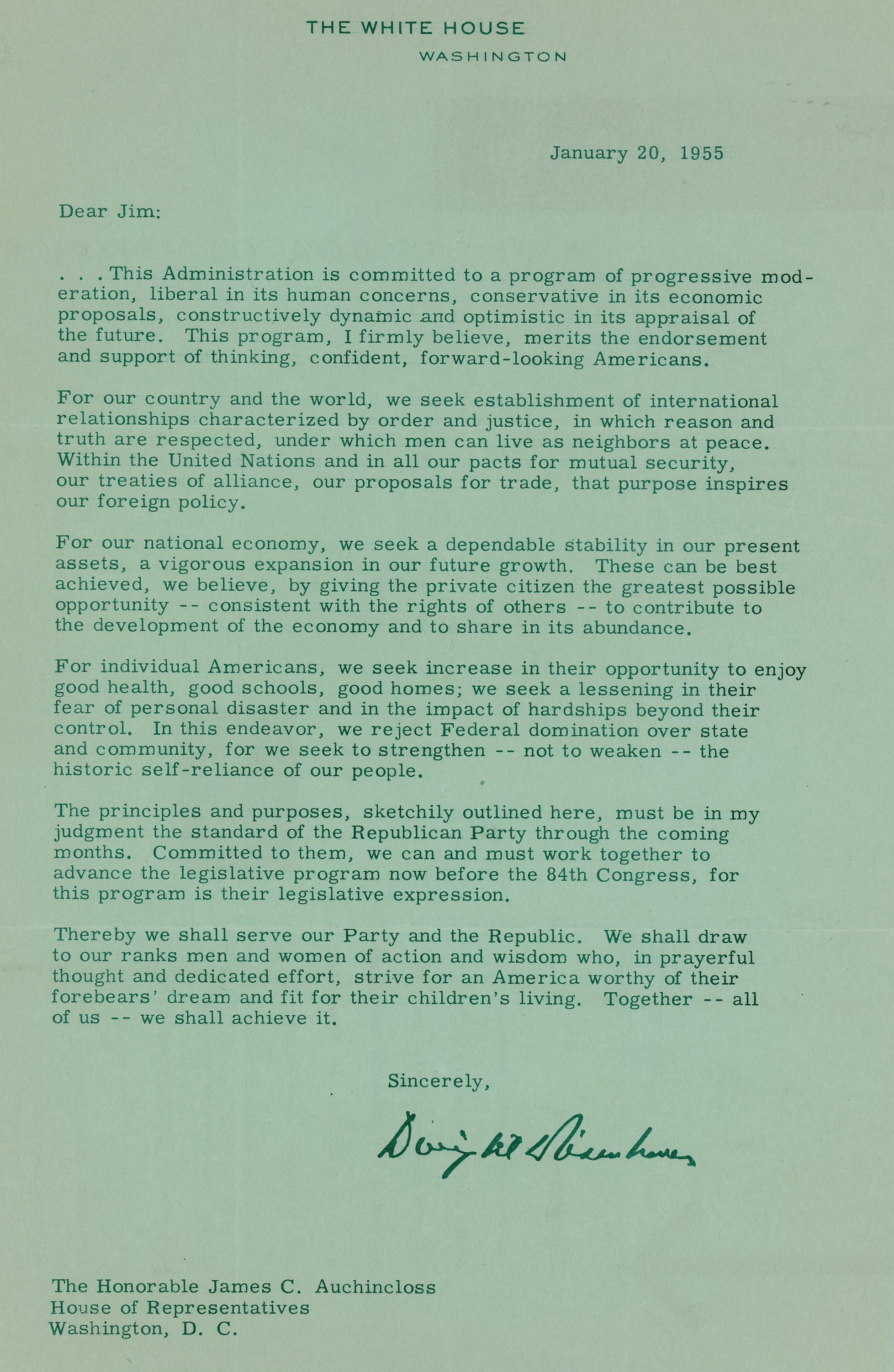 A letter to James C. Auchincloss from President Dwight D. Eisenhower