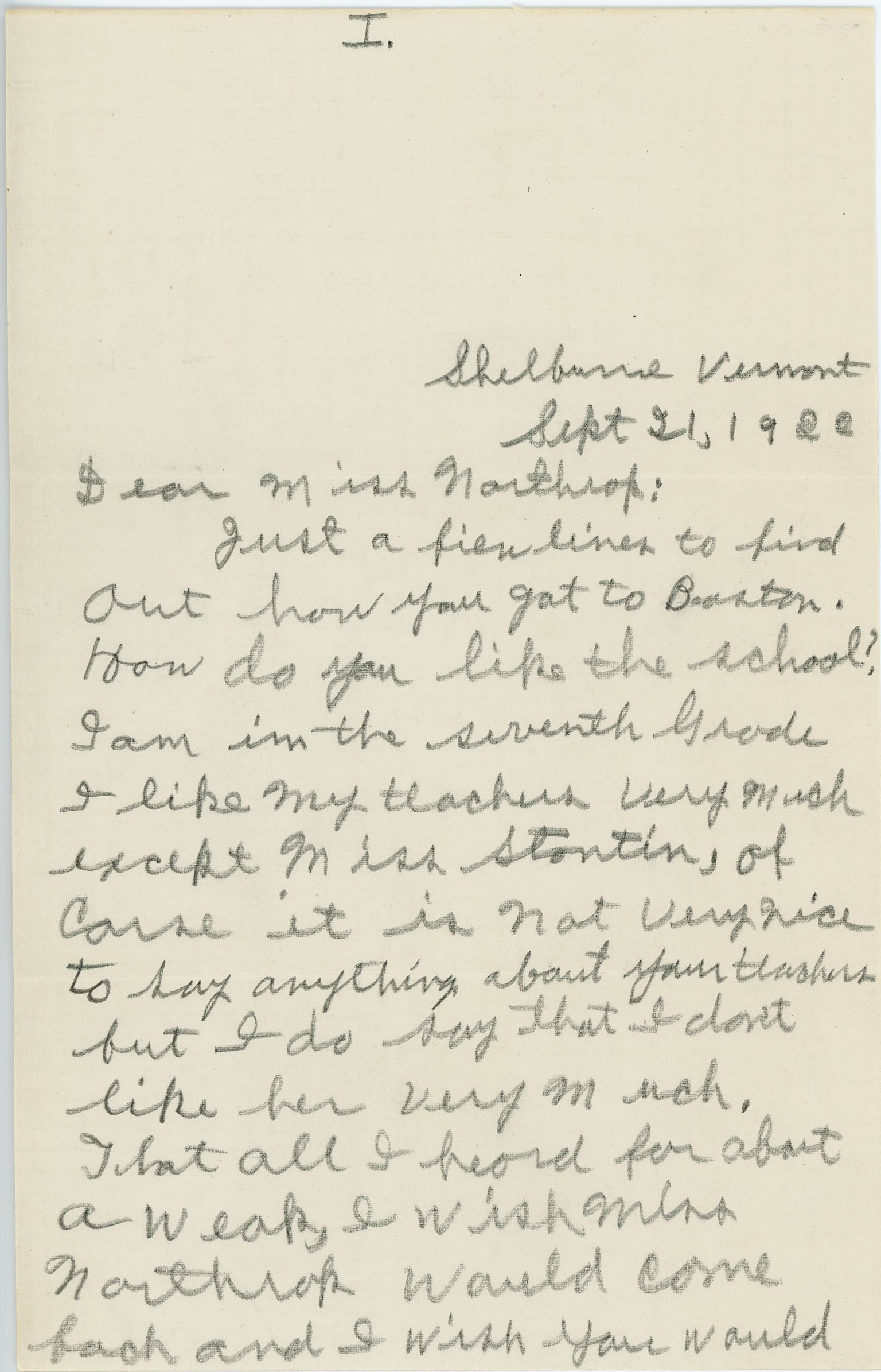 Letter to Consuelo Bailey Northrop from a former student Clayton [s. n.]