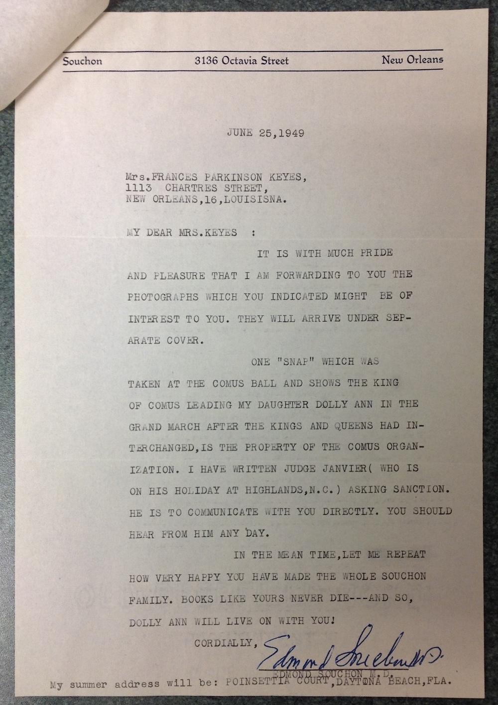 Dr. Edmond Souchon to FPK, June 25, 1949