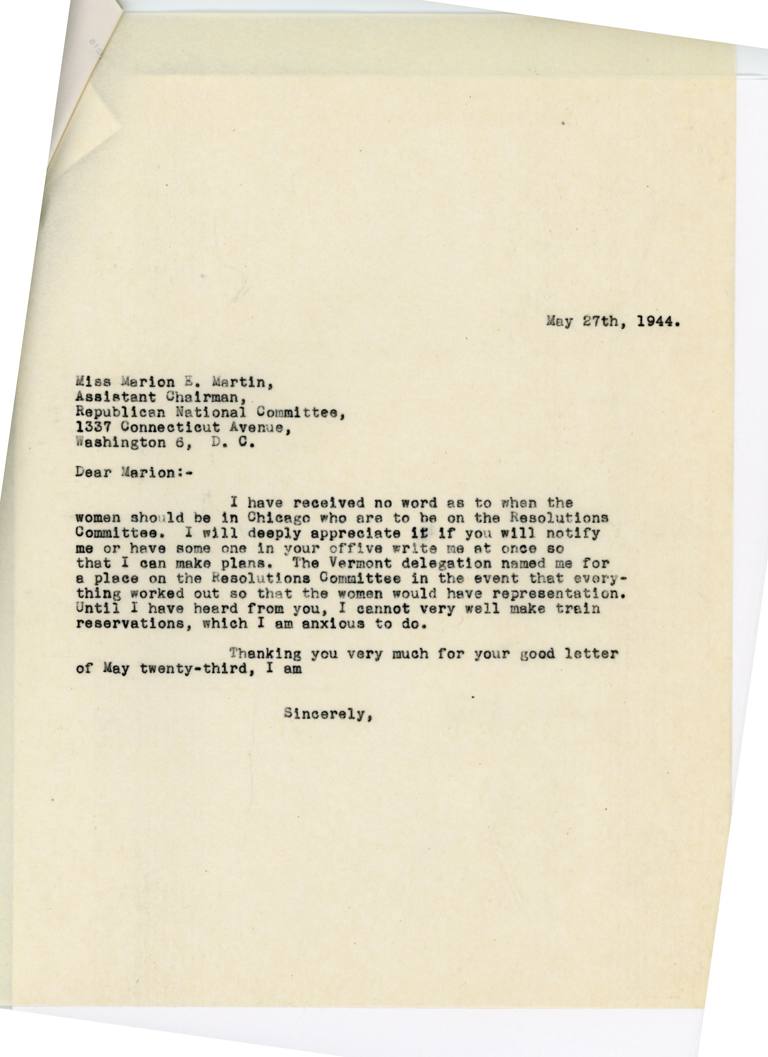 Consuelo Northrop Bailey to Marion E. Martin, 1944 May 27