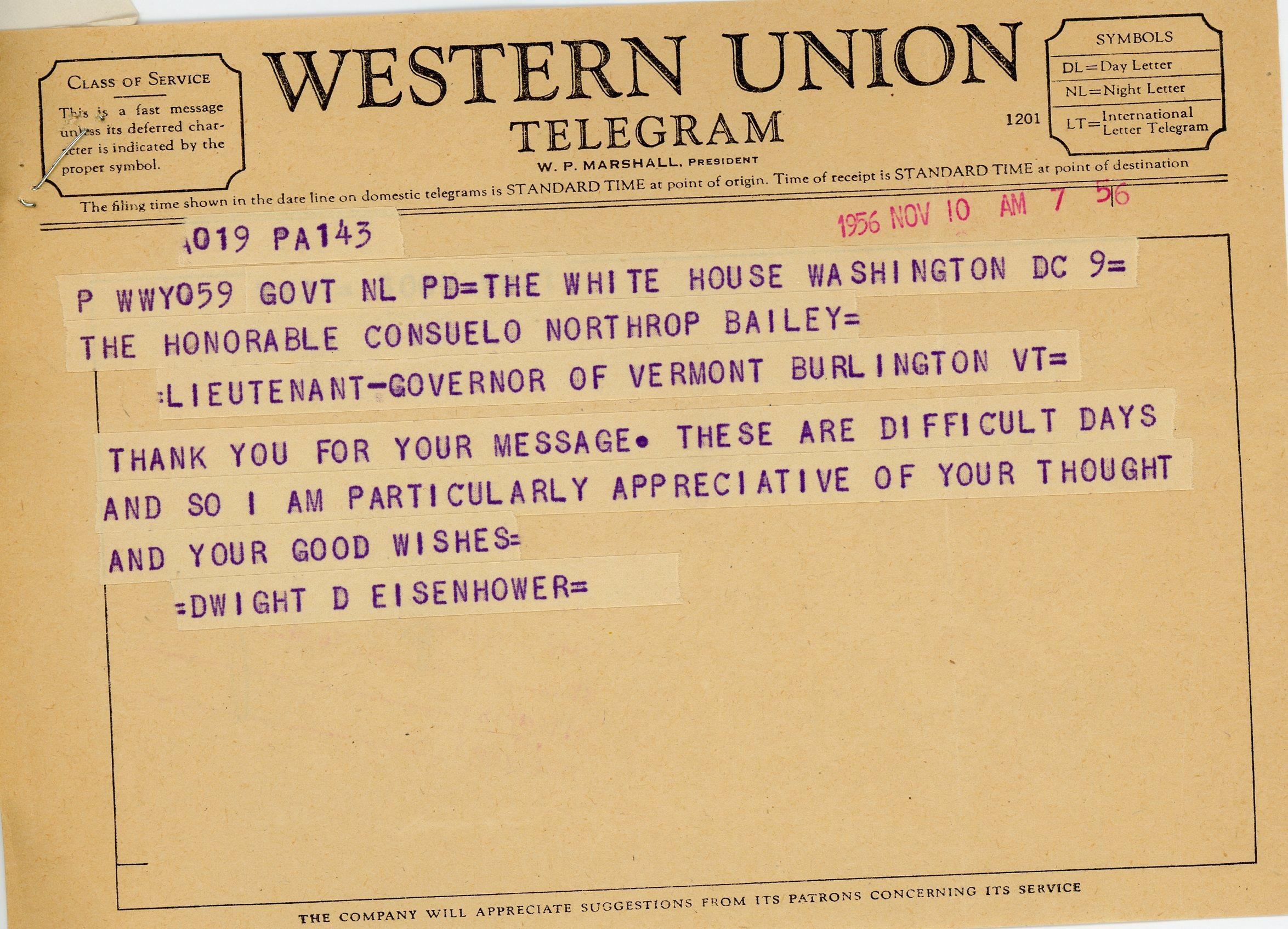 President Dwight D. Eisenhower to Consuelo Northrop Bailey, 1956, November 10