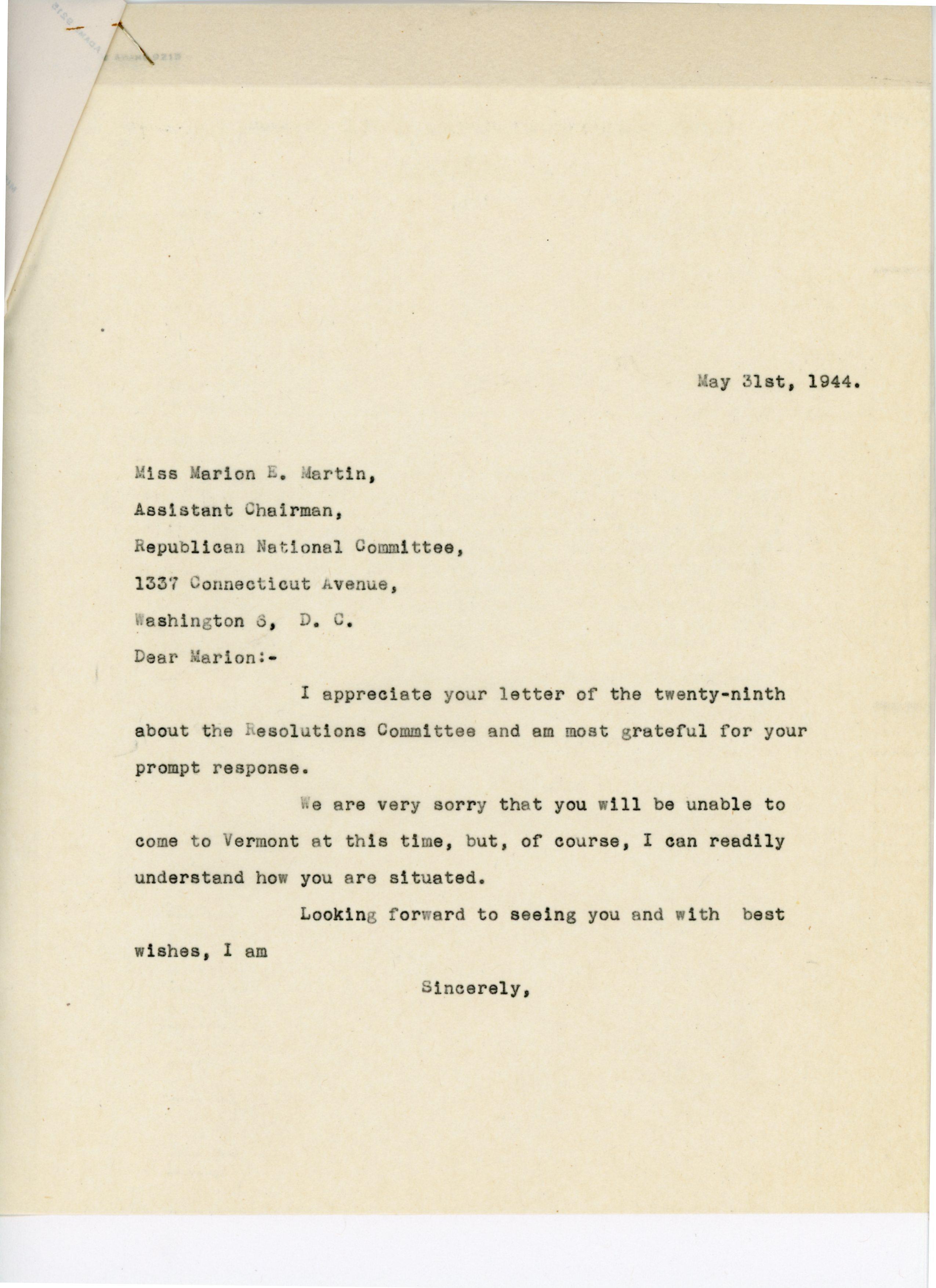 Consuelo N. Bailey to Marion E. Martin 1944 May 31