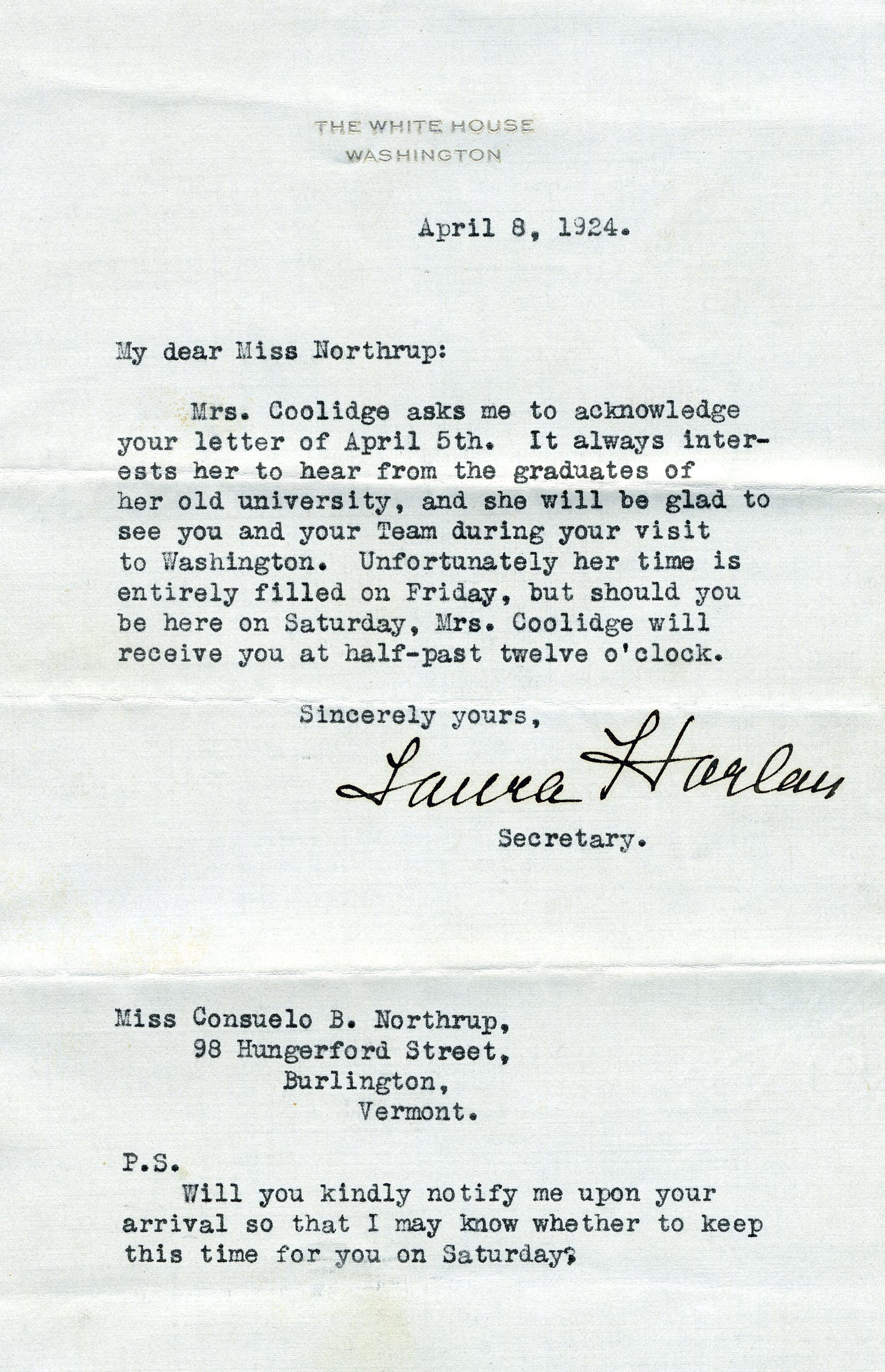 Letter from Grace Coolidge to Consuelo Northrup Bailey, 1924