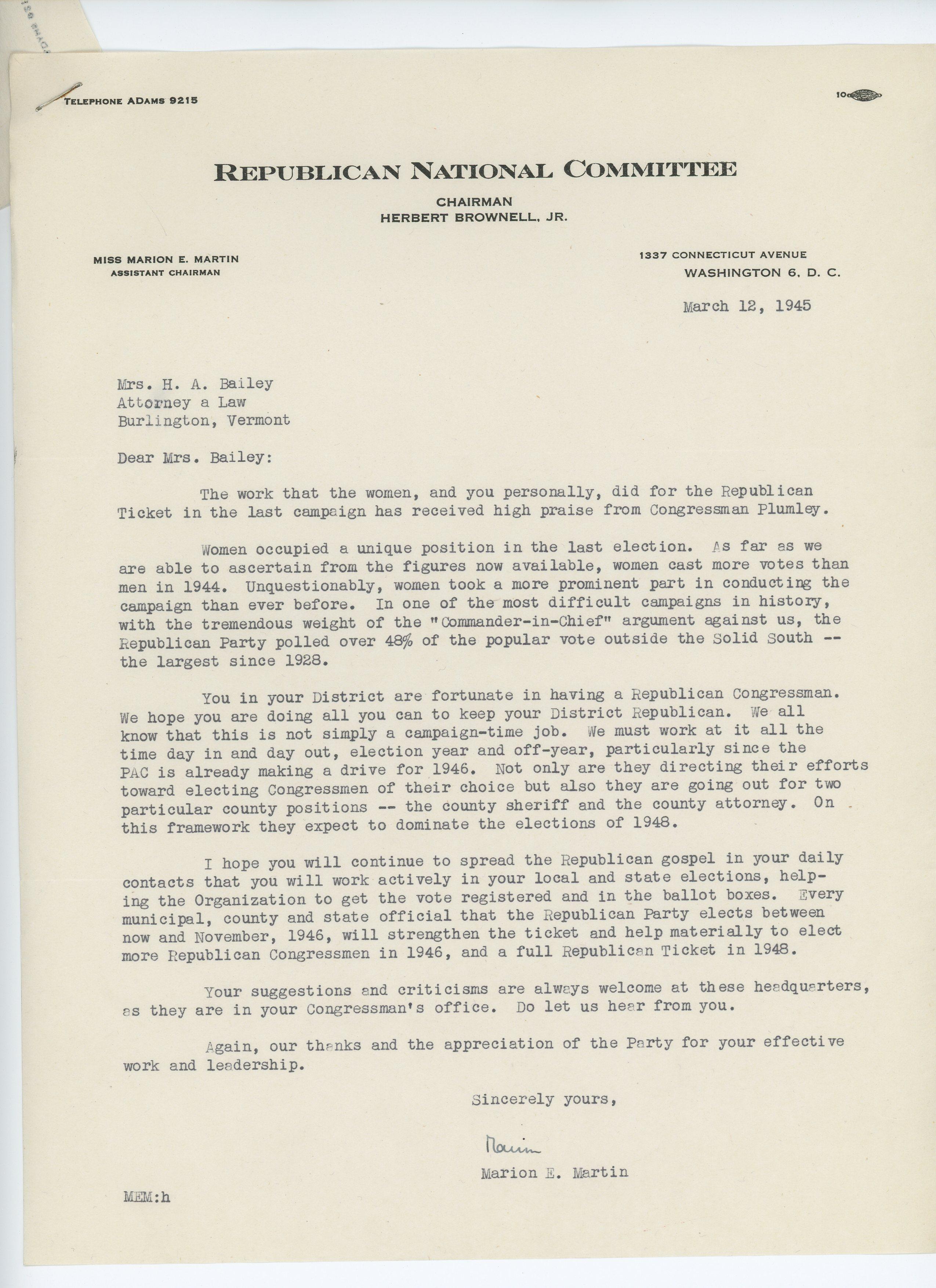 Marion E. Martin to Consuelo N. Bailey 1945 March 18