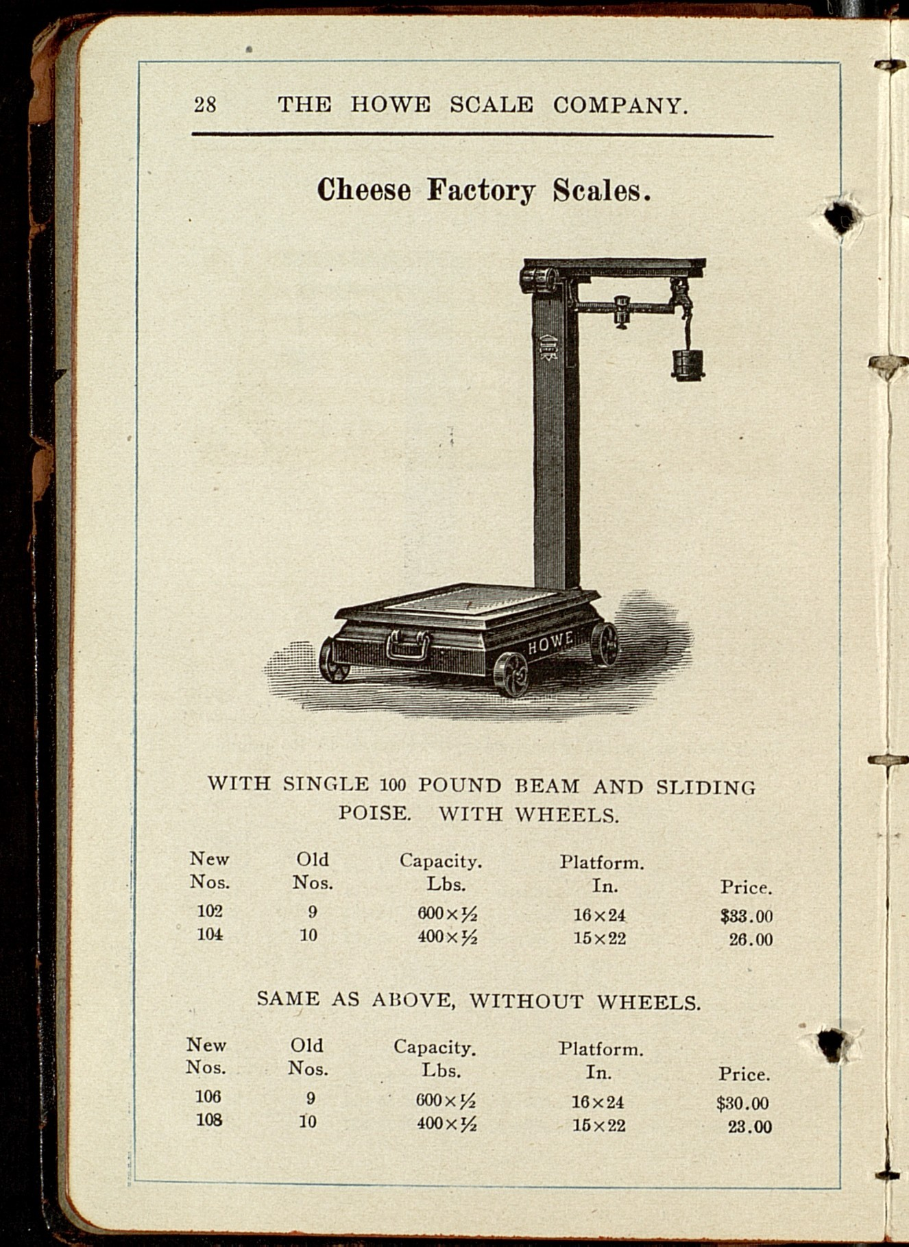 """Scales: The Howe Scale Co., 1912 (43); """"Cheese Factory Scales"""" pgs 28-29"""