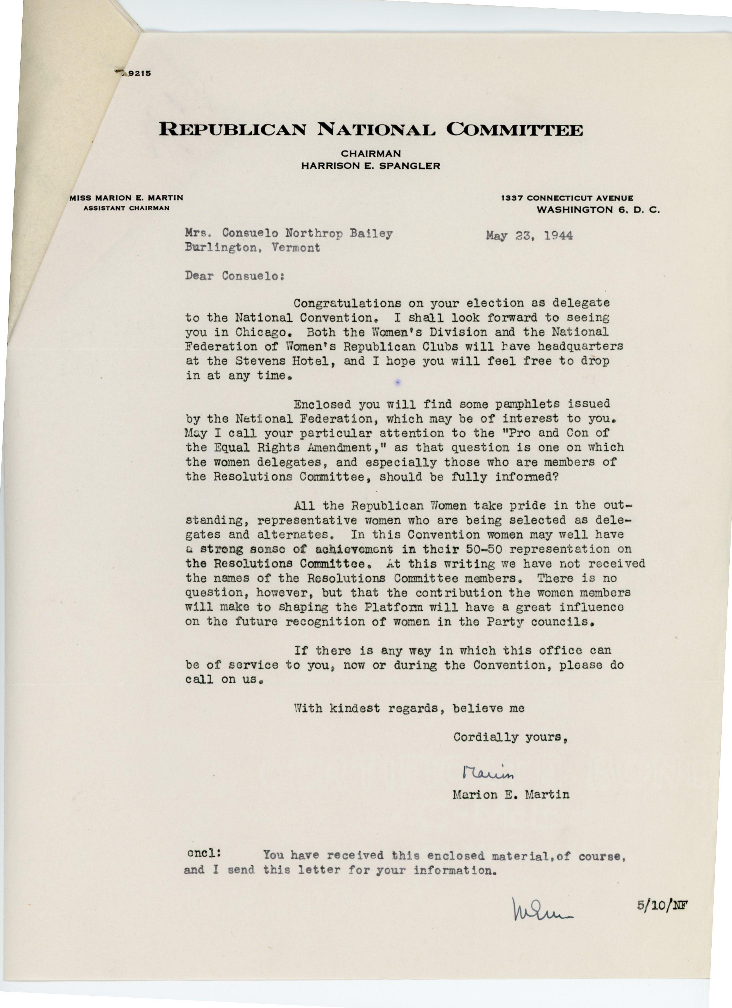Marion E. Martin to Consuelo Northrop Bailey, 1944 May 23