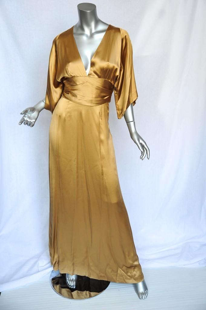 GUCCI Gold SILK Shimmering RED CARPET Cummerbund Gown RUNWAY Long Dress S 4-40