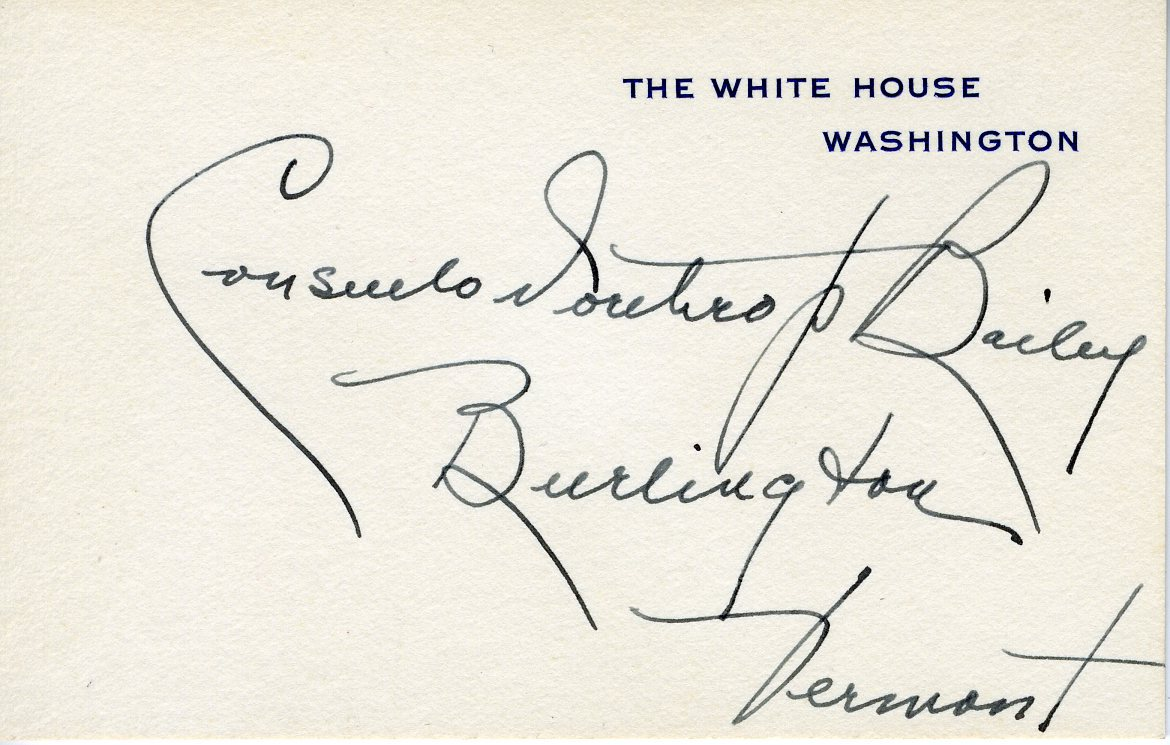 Seat Placement Card for Consuelo Northrop Bailey from The White House