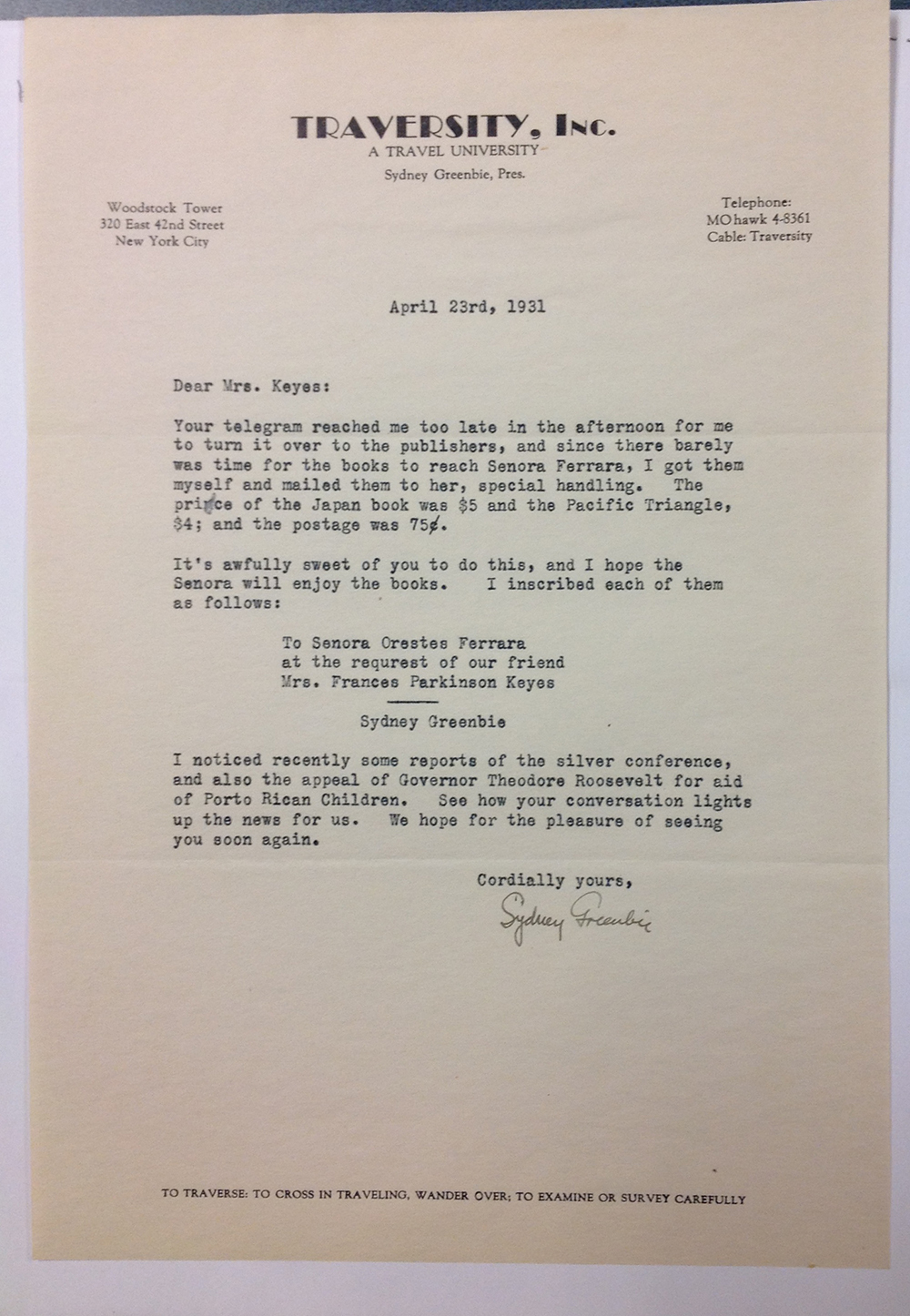 Letter from Sydney Greenbie to FPK from April 23, 1931