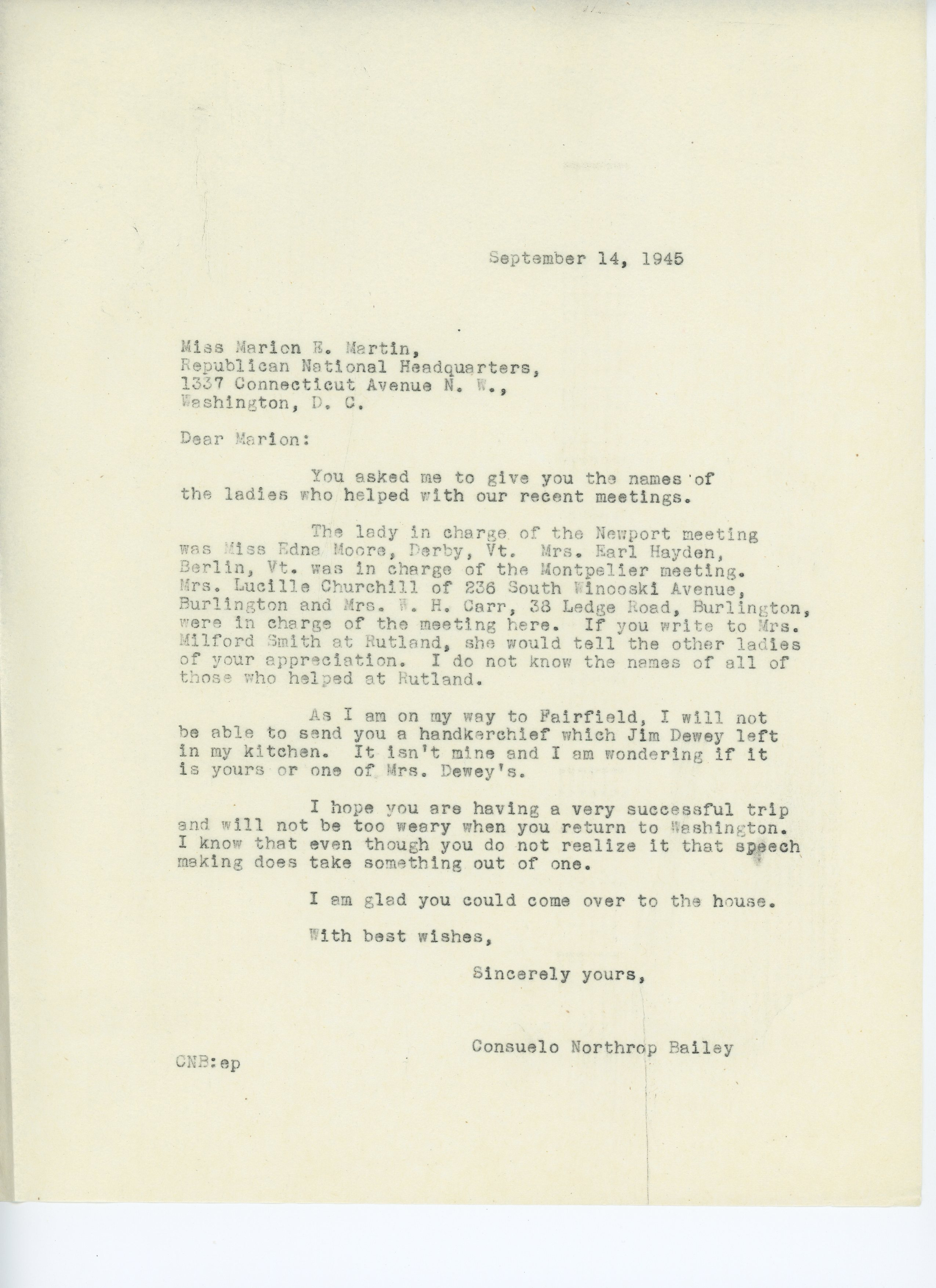 Consuelo Northrop Bailey to Marion E. Martin 1945 September 14
