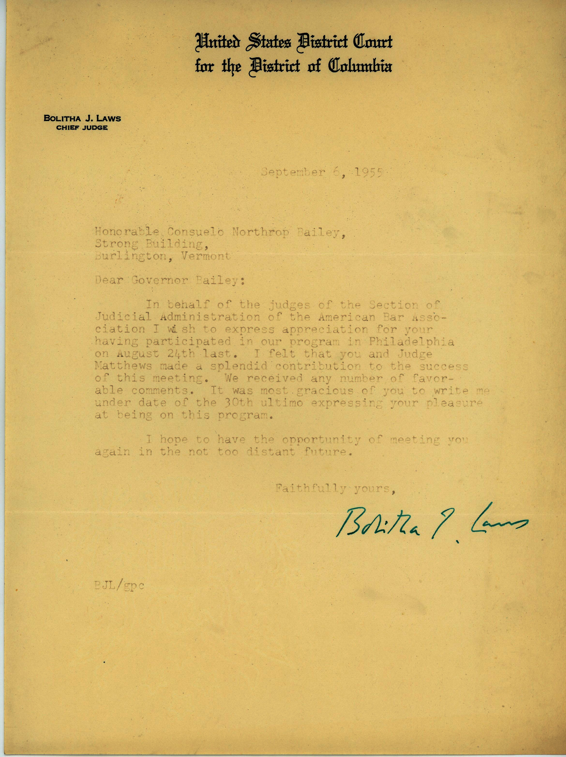 Chief Judge Bolitha J. Laws to Consuelo Northrop Bailey 1955 September 6