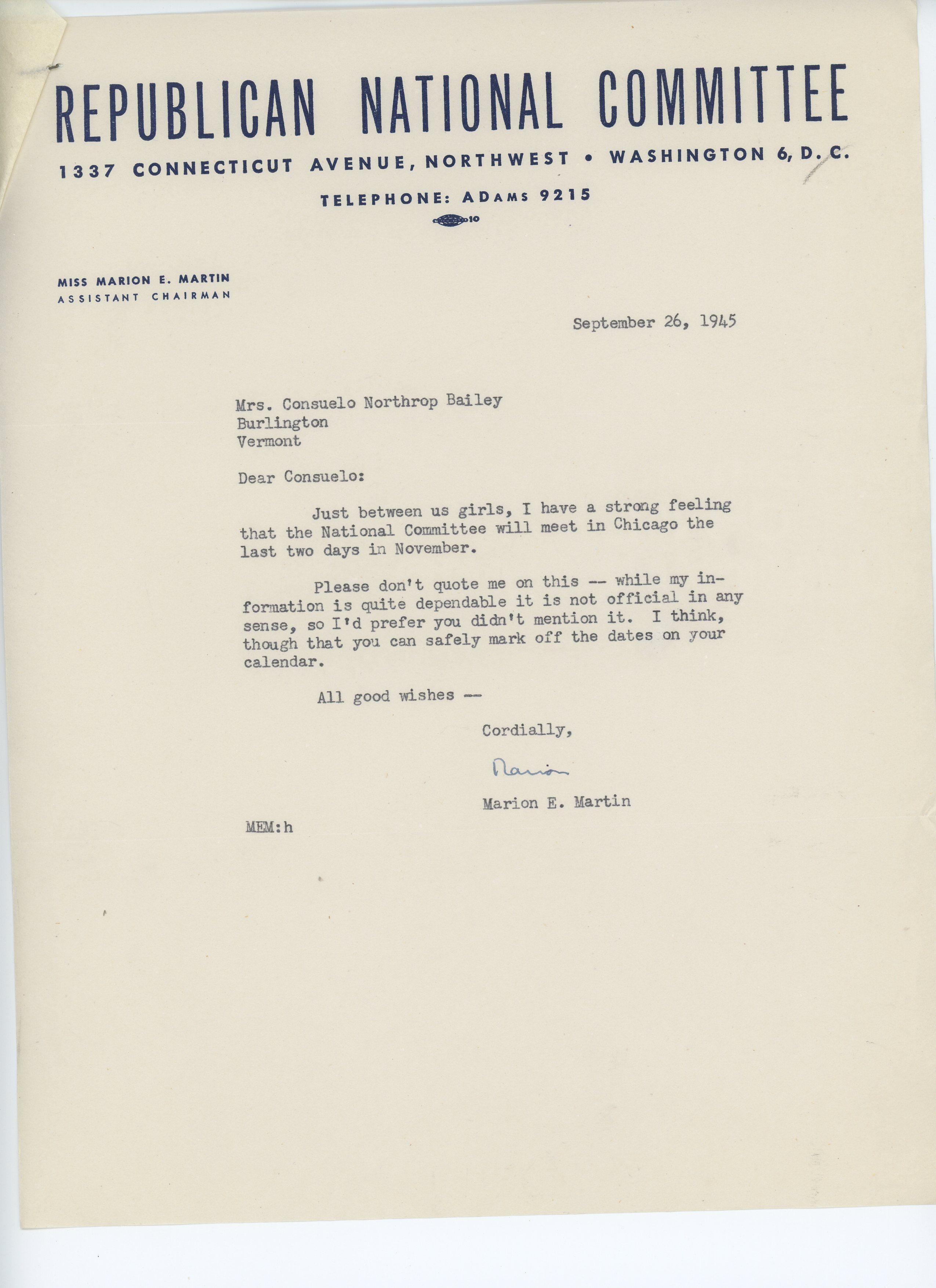Marion E. Martin to Consuelo N. Bailey 1945 September 26