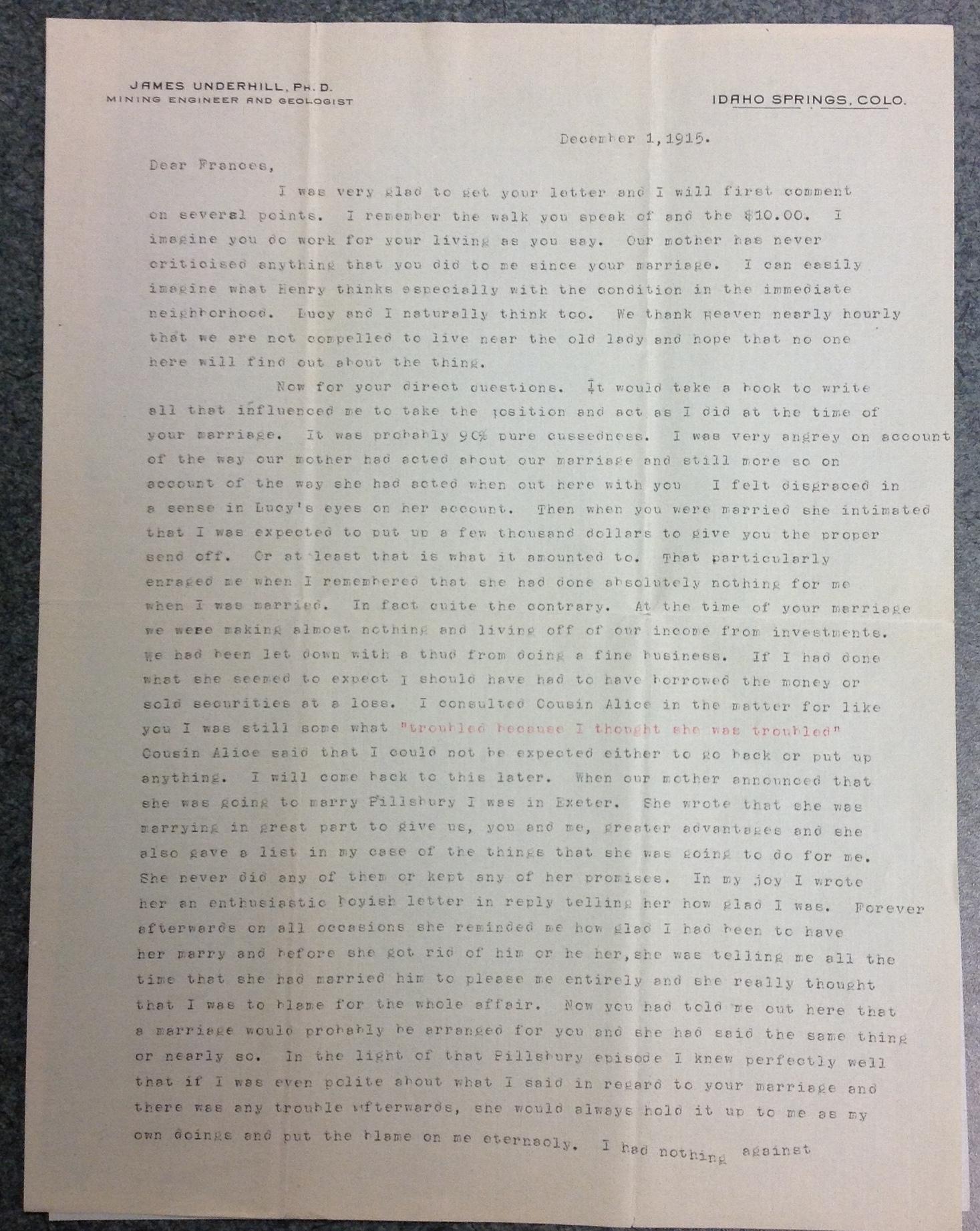 James Underhill to FPK, December 1, 1915