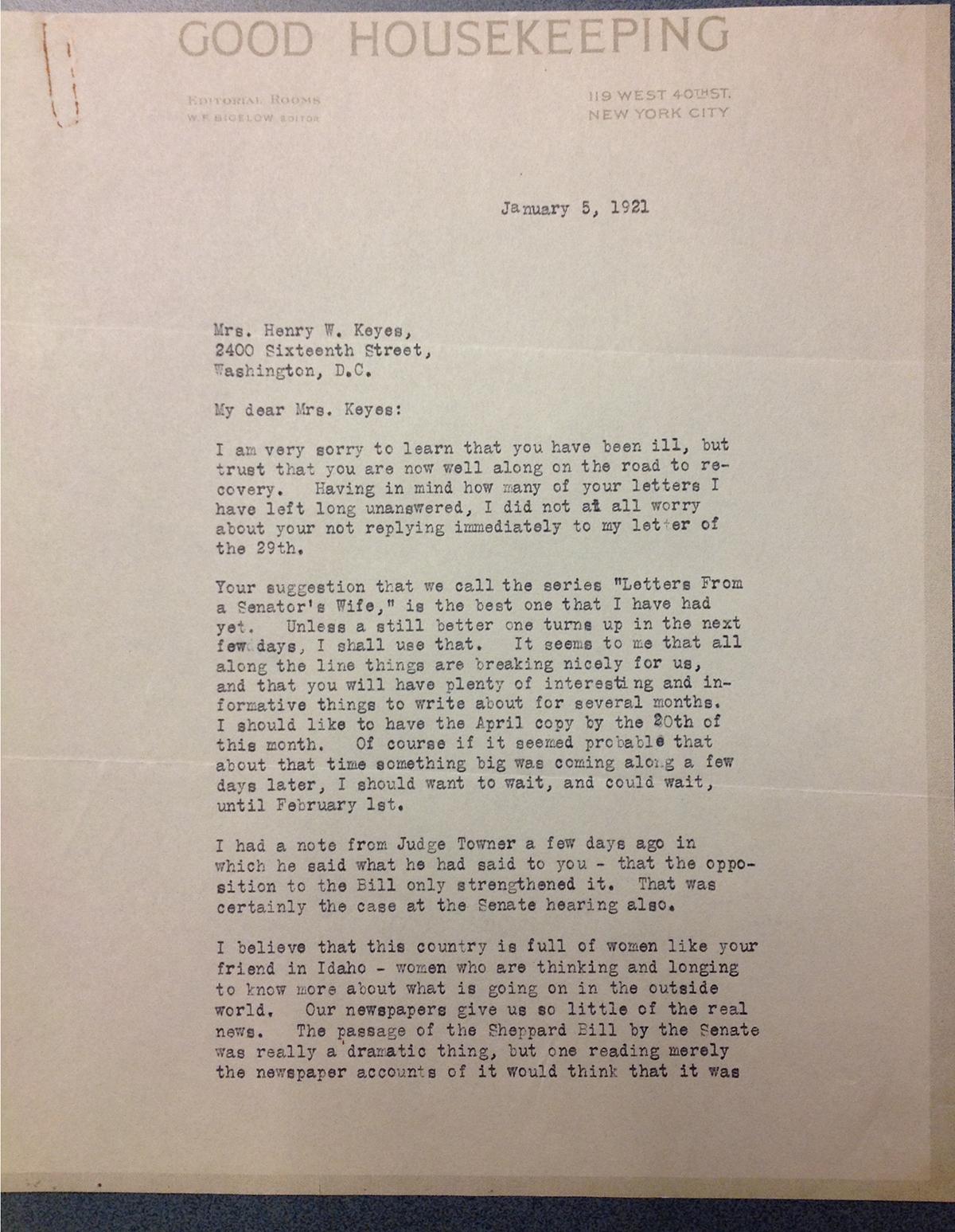 W. F. Bigelow to FPK, January 5, 1921