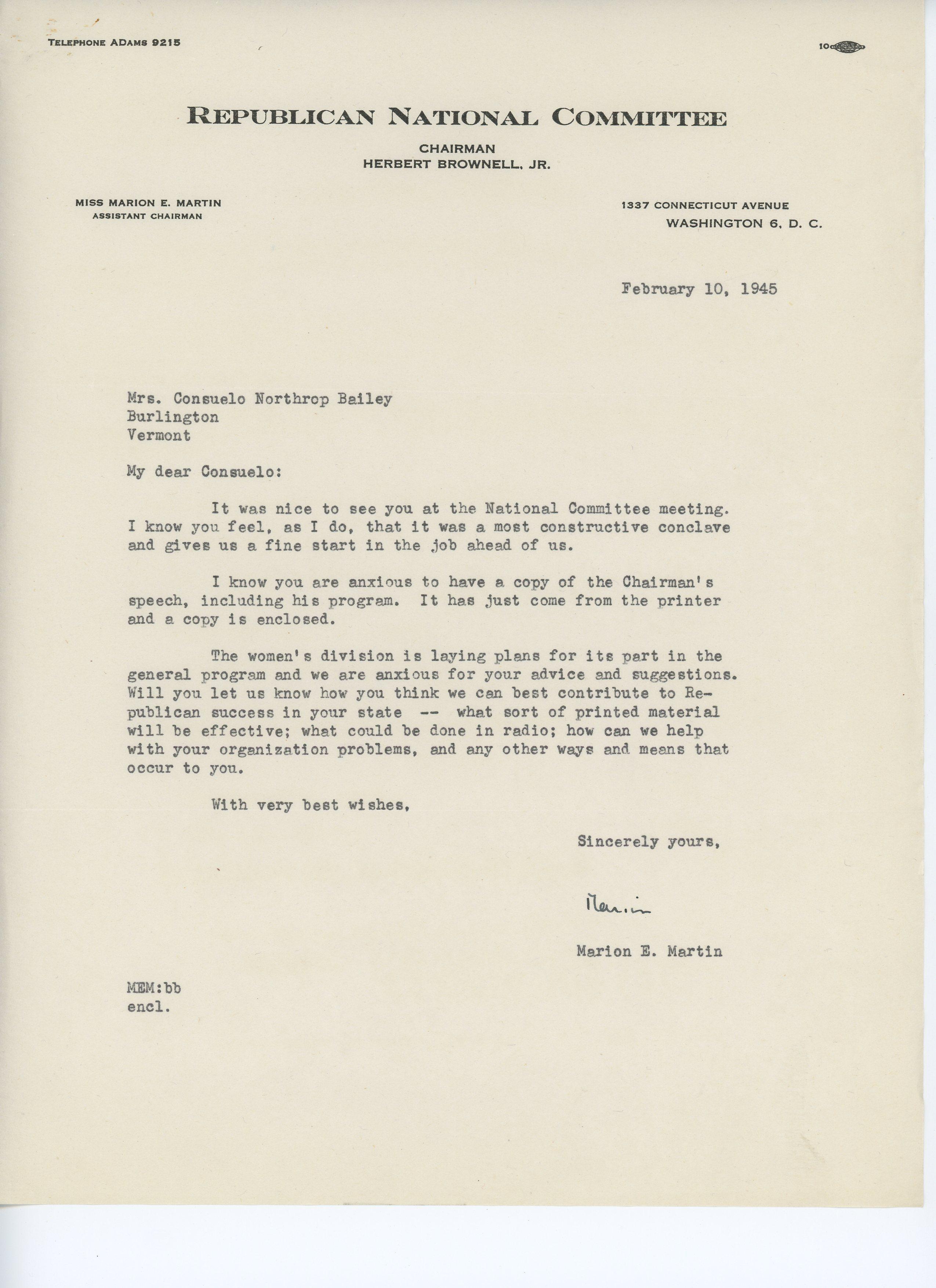 Marion E. Martin to Consuelo N. Bailey 1945 February 10