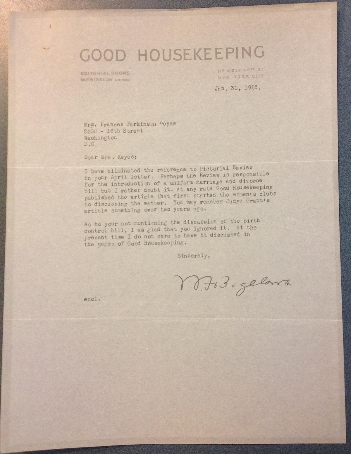 William Frederick Bigelow to FPK, January 31, 1923