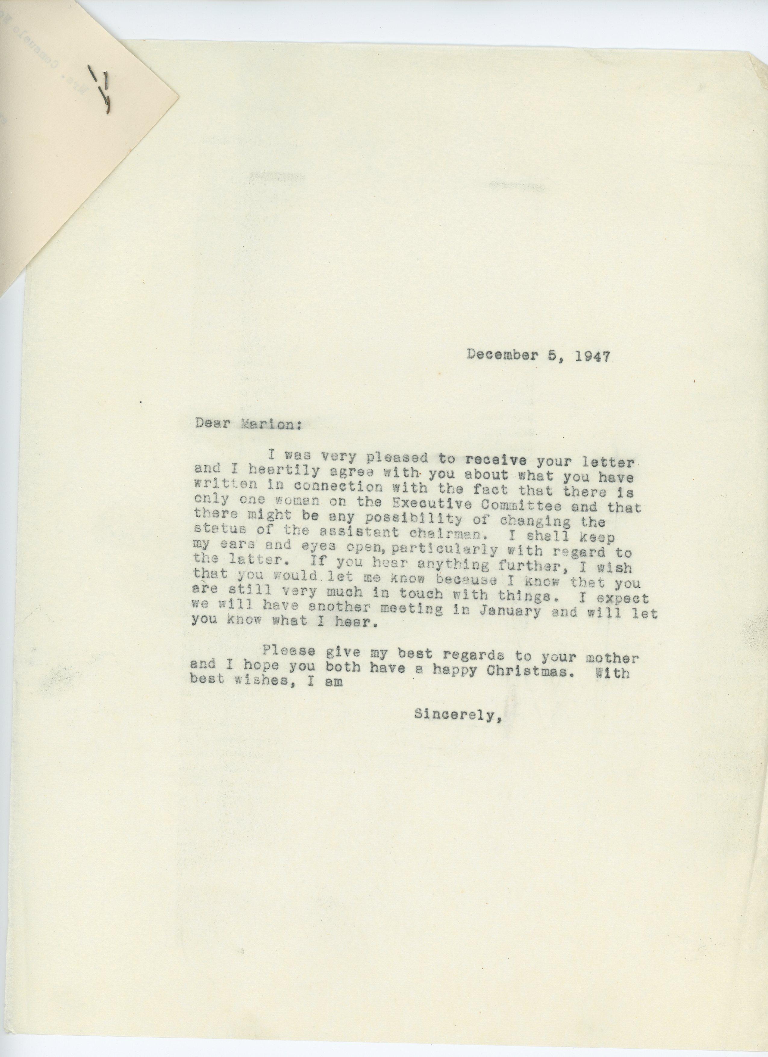Consuelo N. Bailey to Marion E. Martin 1947 December 5