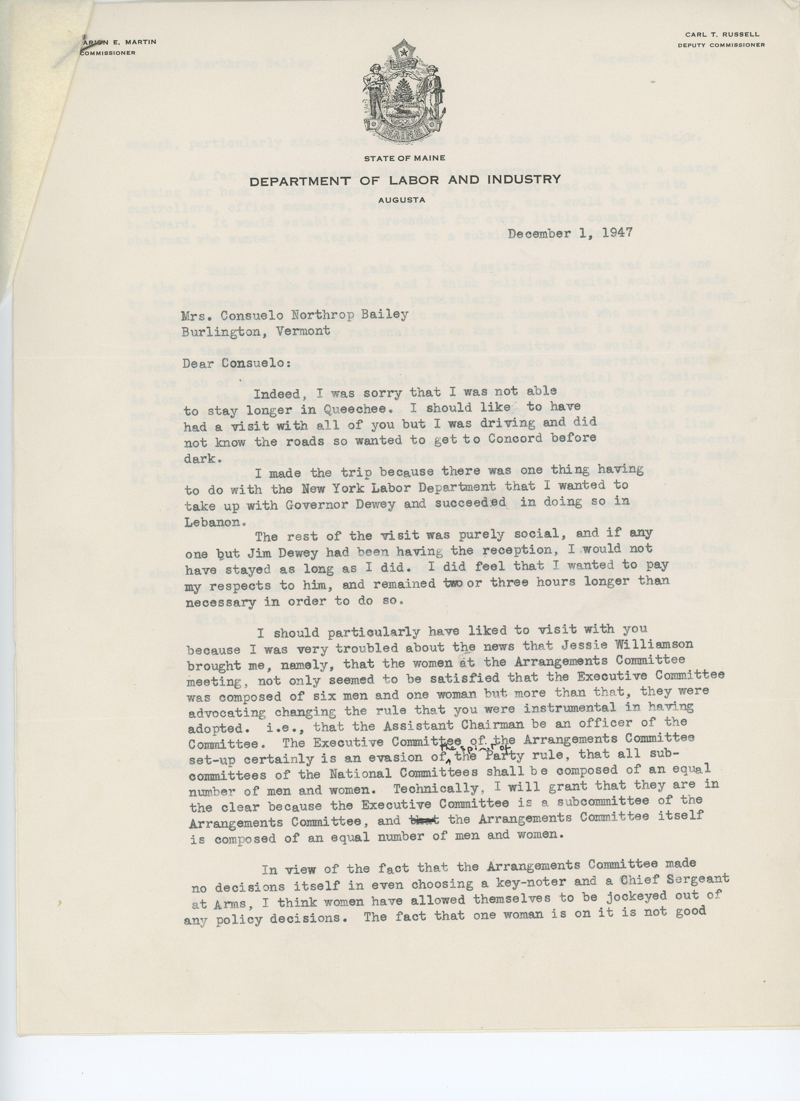 Marion E. Martin to Consuelo N. Bailey 1947 December 1