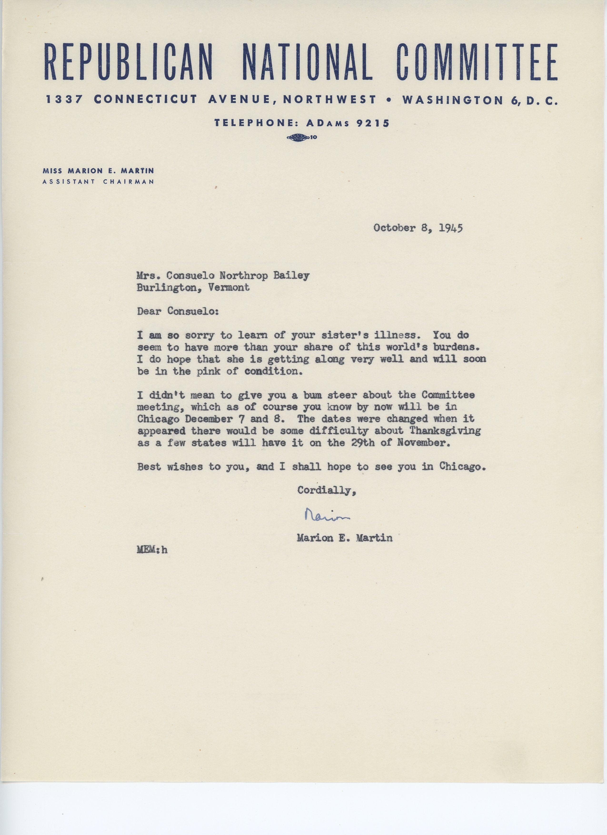 Marion E. Martin to Consuelo N. Bailey 1945 October 8