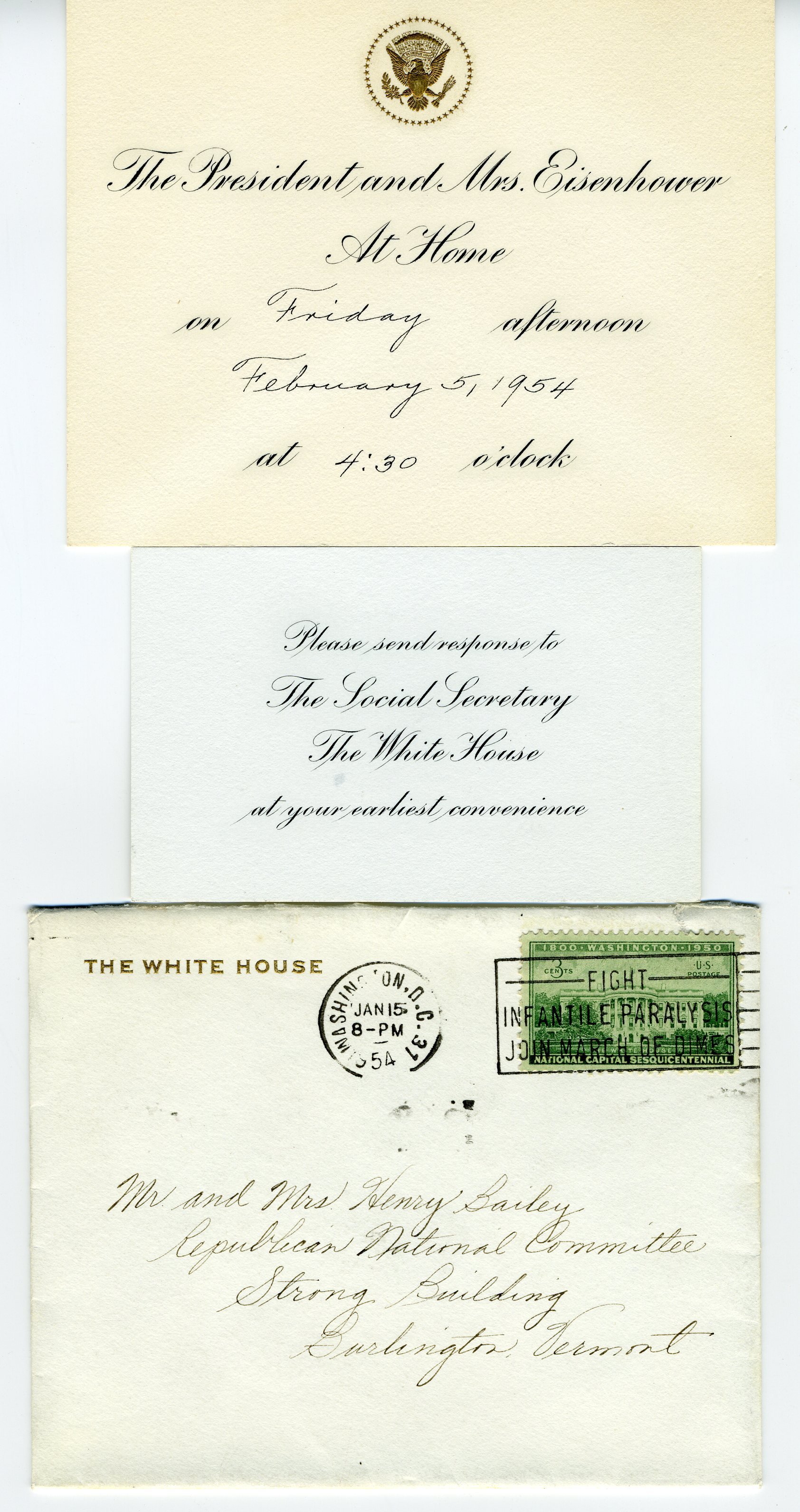 President and Mrs. Eisenhower to Mr. and Mrs. Henry Bailey, 1954 February 5