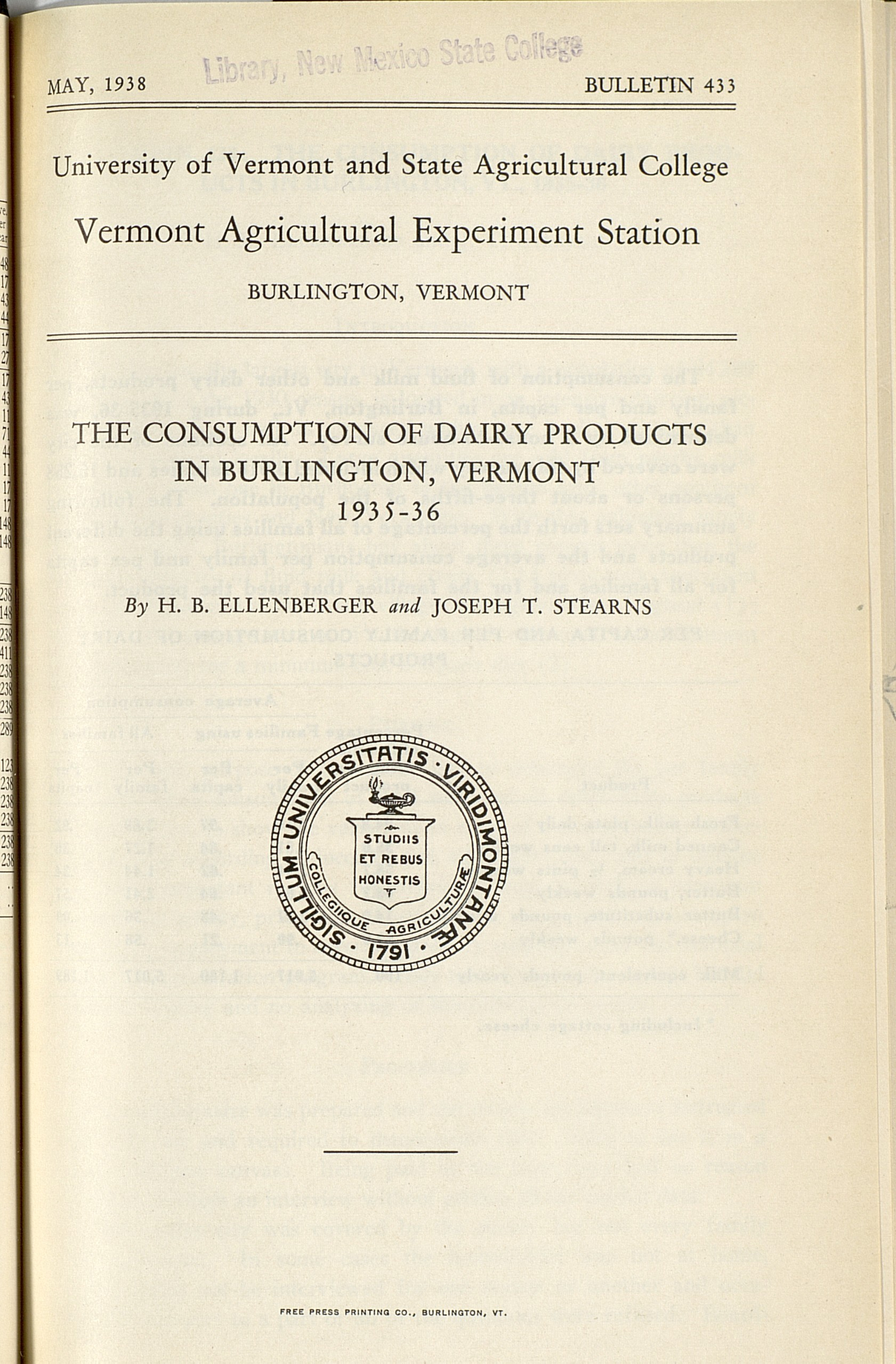 """Vermont Agricultural Experiment Station Bulletins, 426-450; """"The Consumption of Dairy Products in Burlington, VT: 1935-36"""""""