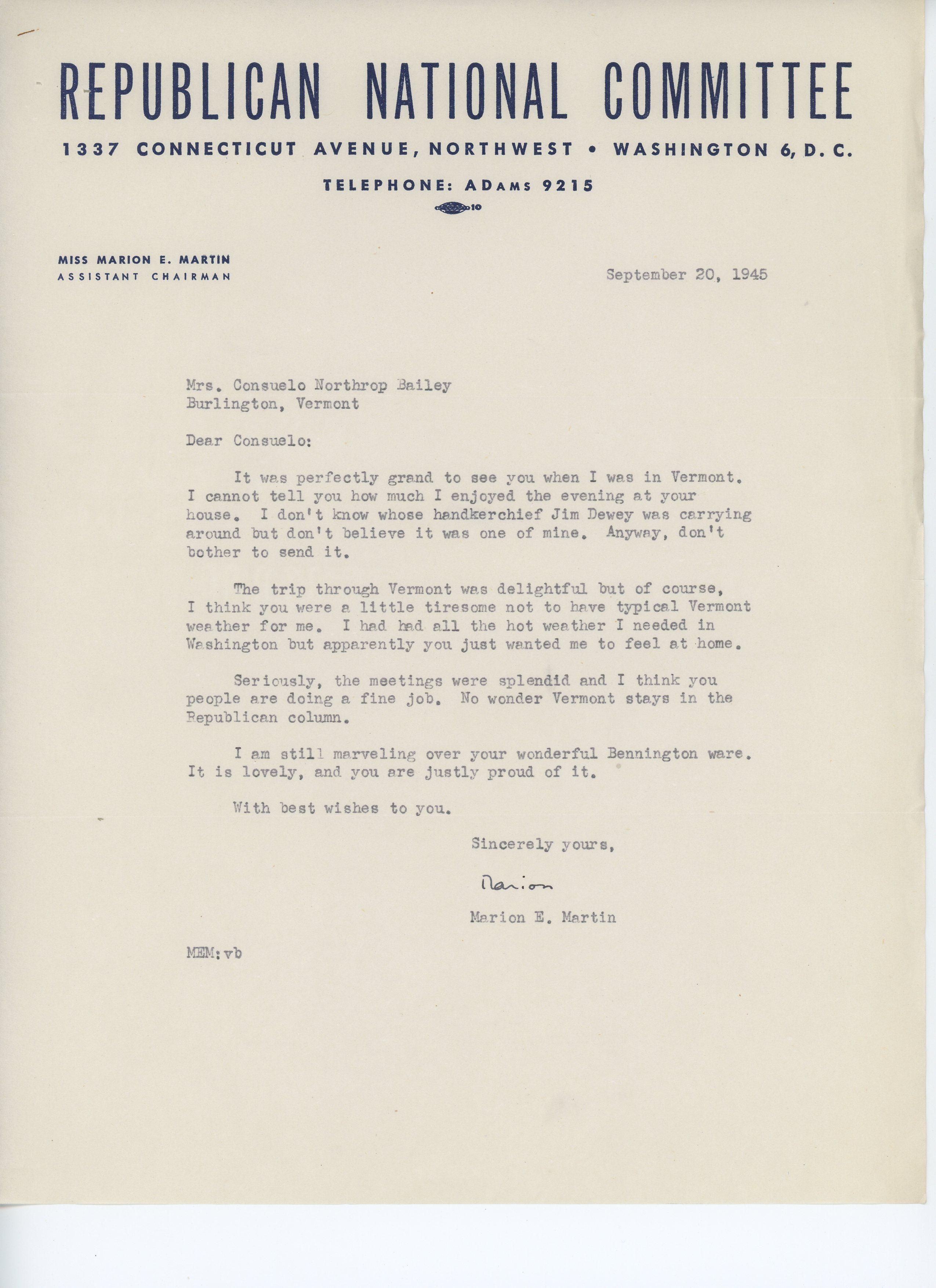 Marion E. Martin to Consuelo N. Bailey 1945 September 20