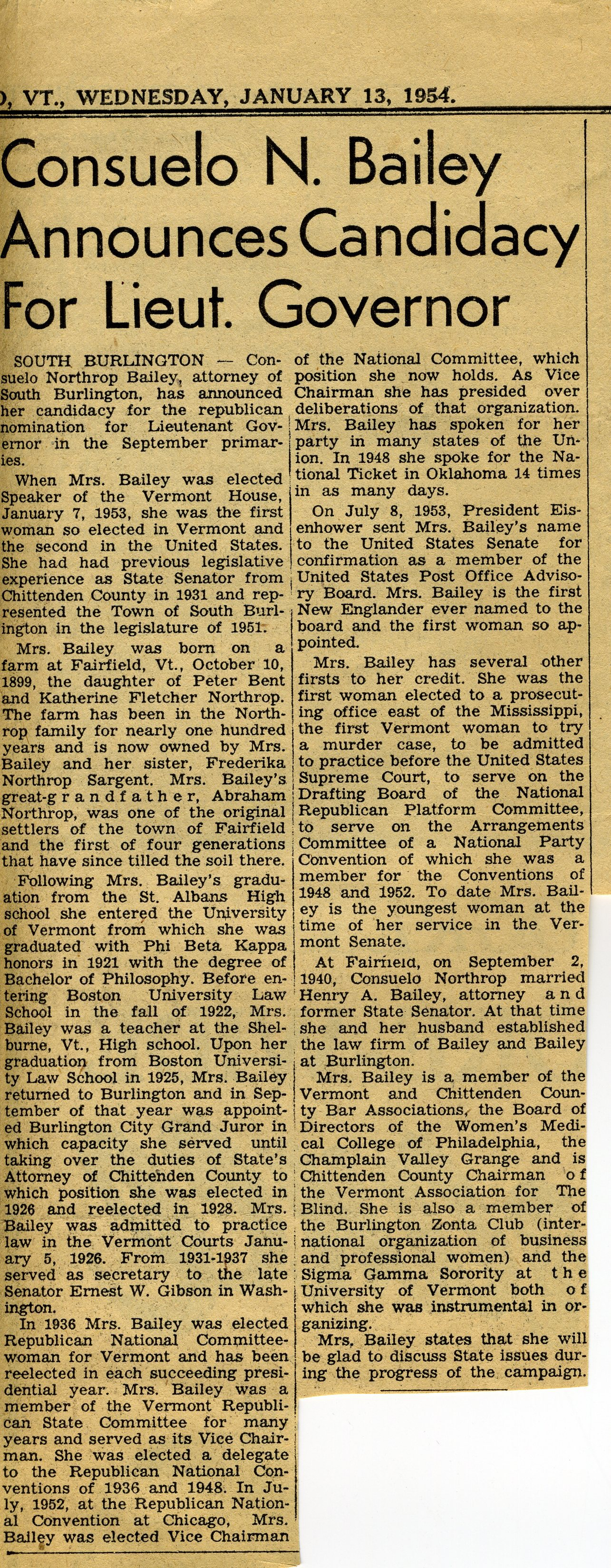 1954 January 13, Springfield Reporter, CNB Announces Candidacy
