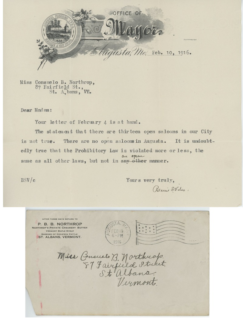 Blaine S. Viles, Mayor of Augusta, Maine, to CNB, 1916 February 10