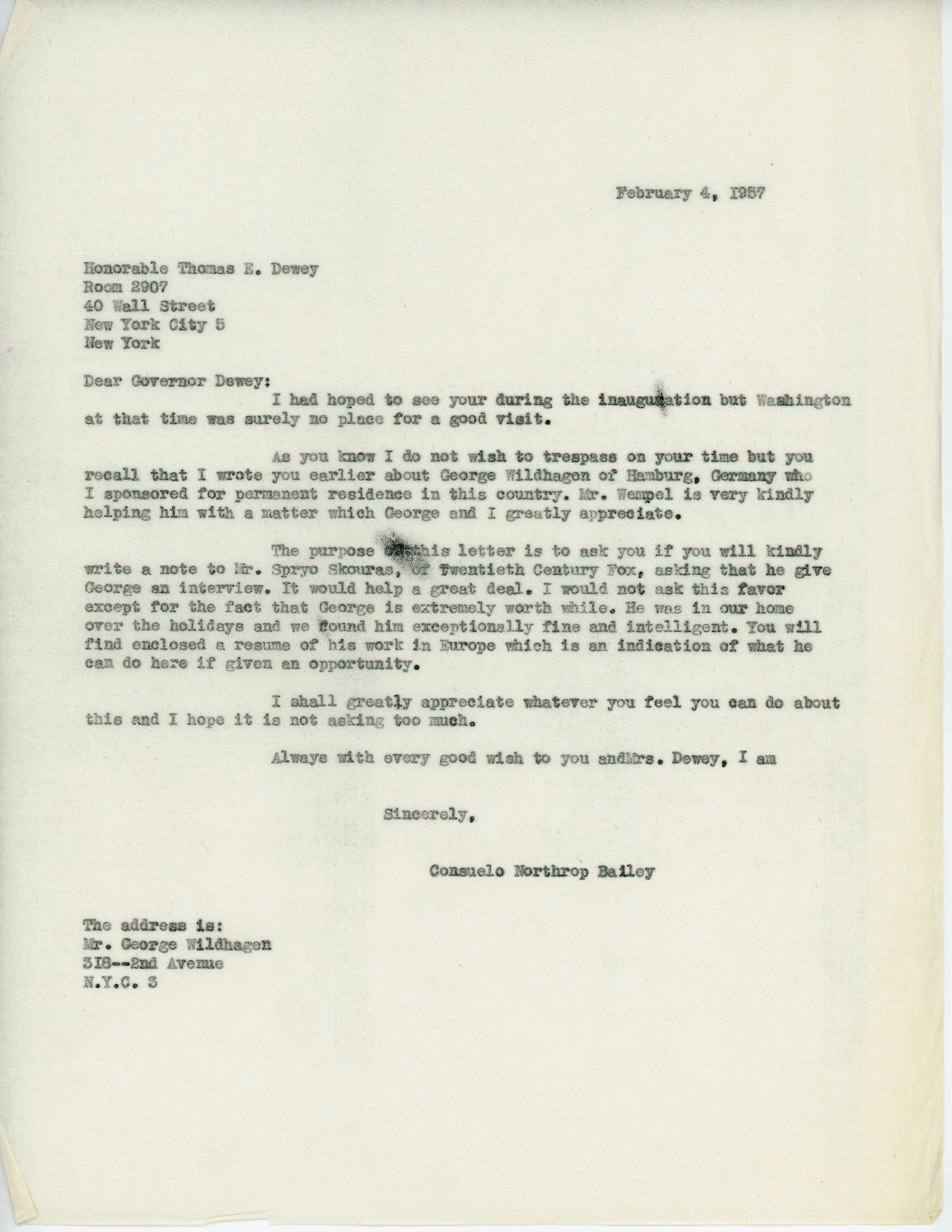 Letter from Consuelo Northrop Bailey to Thomas Dewey, 1957 February 4