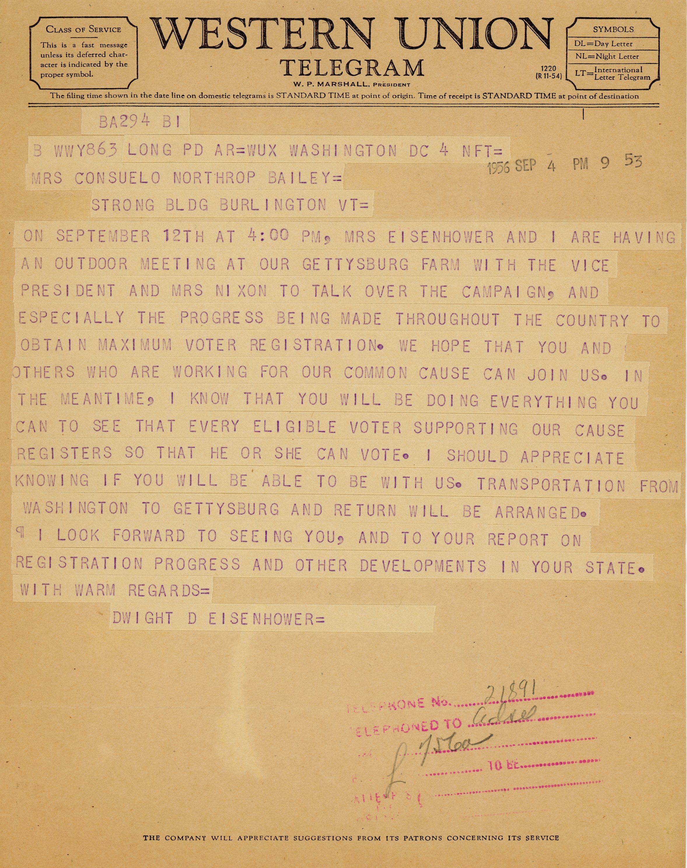 President Dwight D. Eisenhower to Consuelo Northrop Bailey, 1956 September 4
