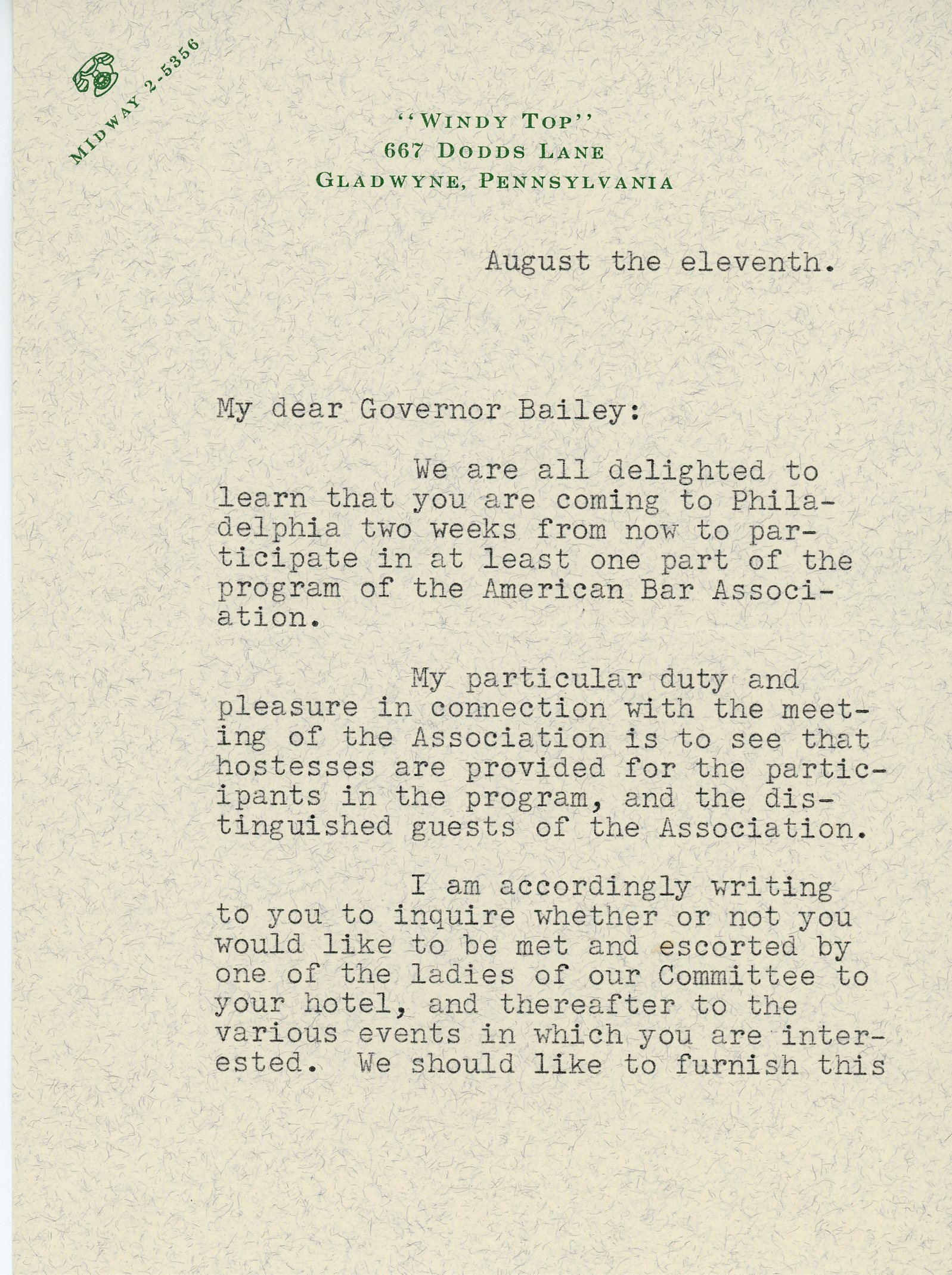 Mrs. Arthur Littleton to Governor Bailey,  August 11