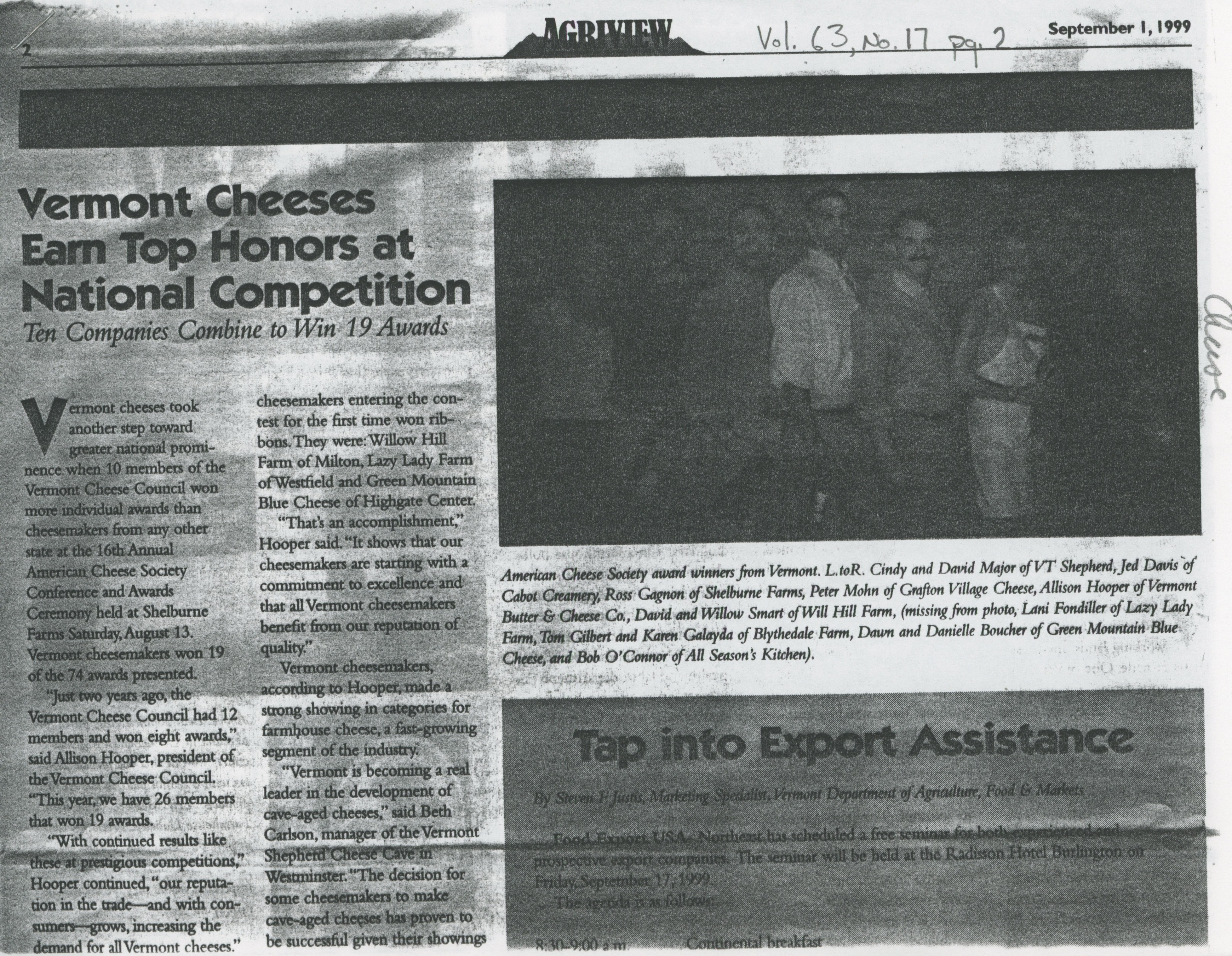Vermont Cheese Earn Top Honors at National Competition, 1999