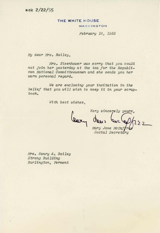 Mary Jane McCaffree to Consuelo Northrop Bailey, 1955 February 18