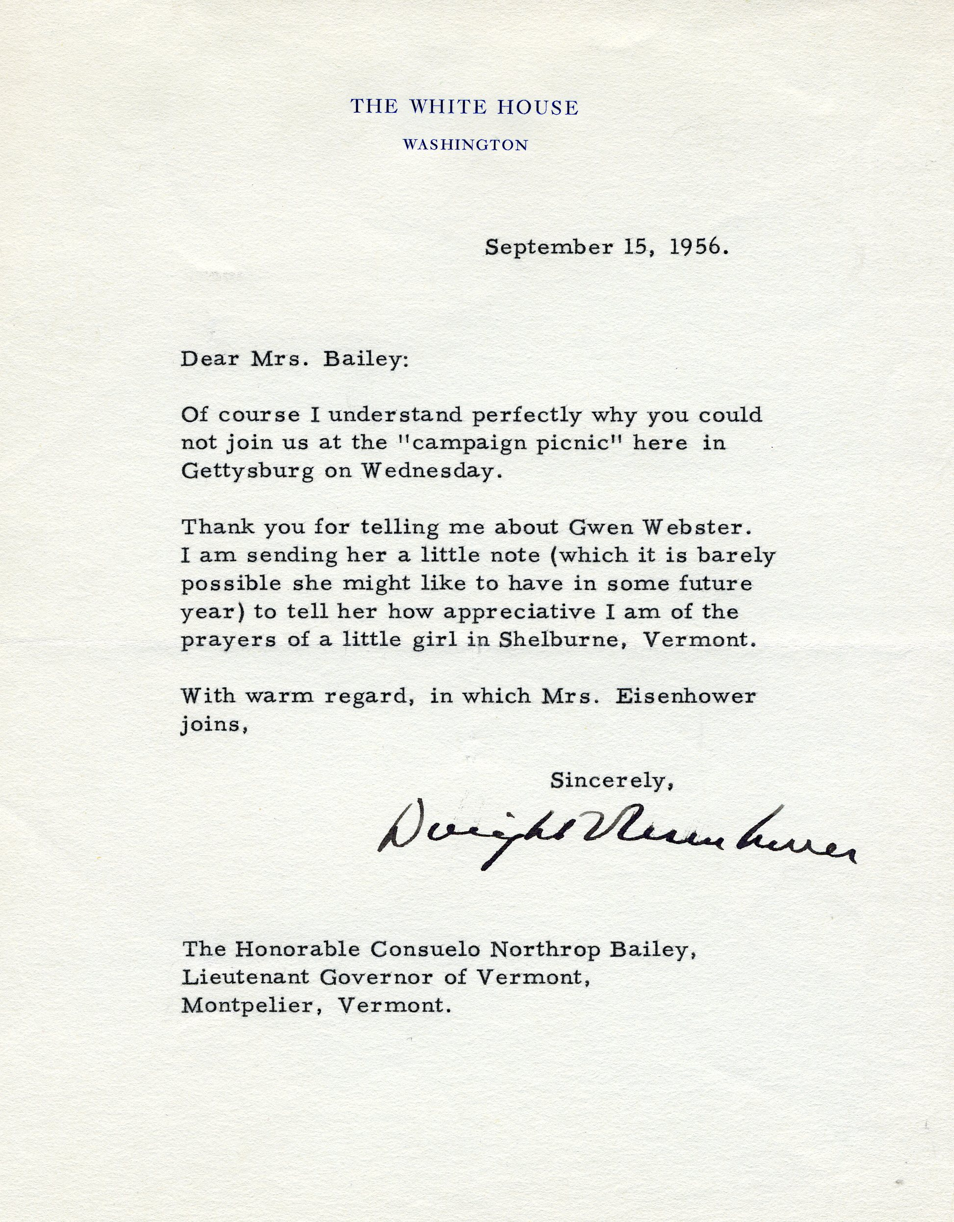 President Dwight D. Eisenhower to Consuelo Northrop Bailey, 1956, September 15