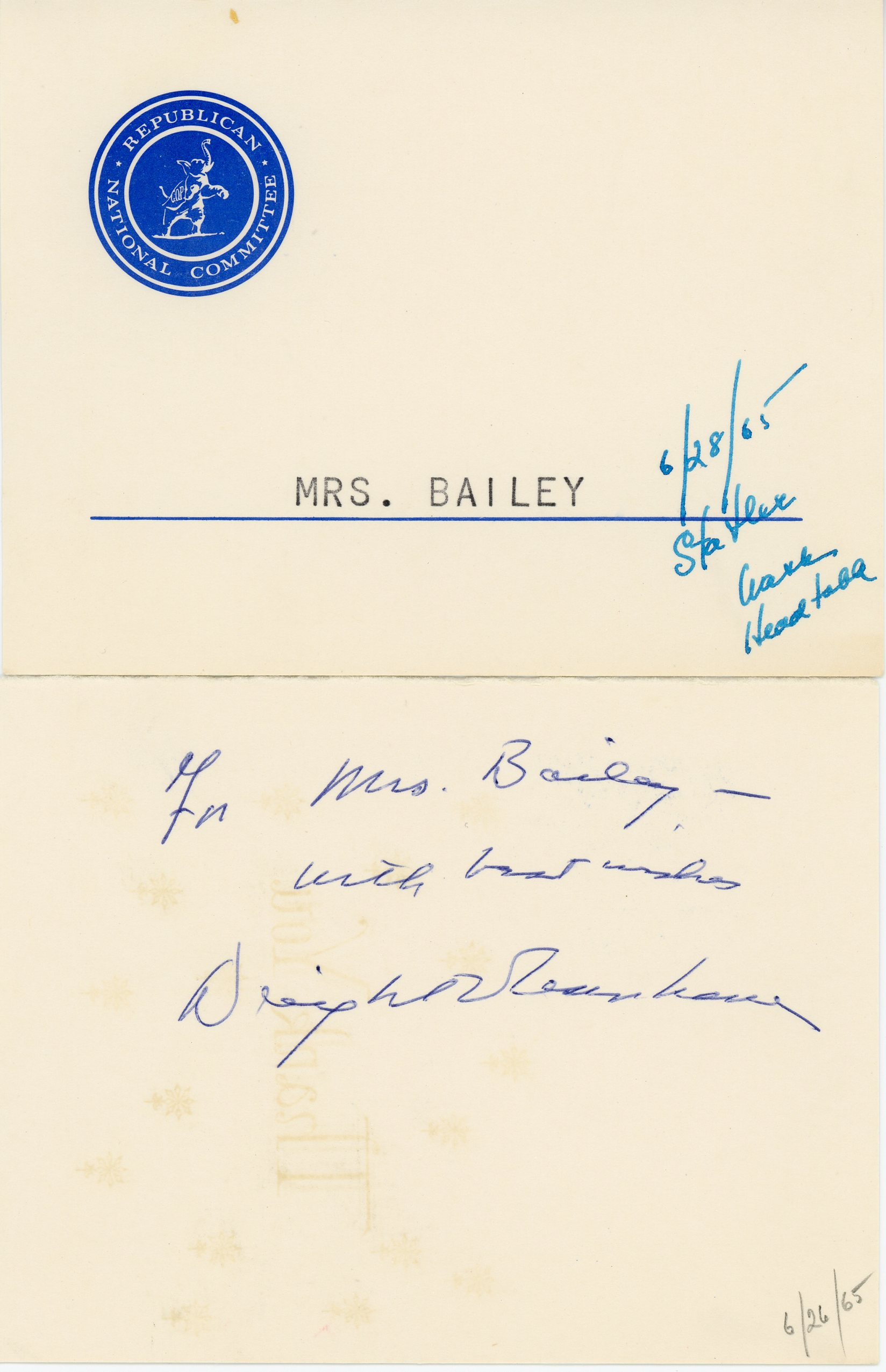 Card from Republican National Committee, 1965, June 26 and 28