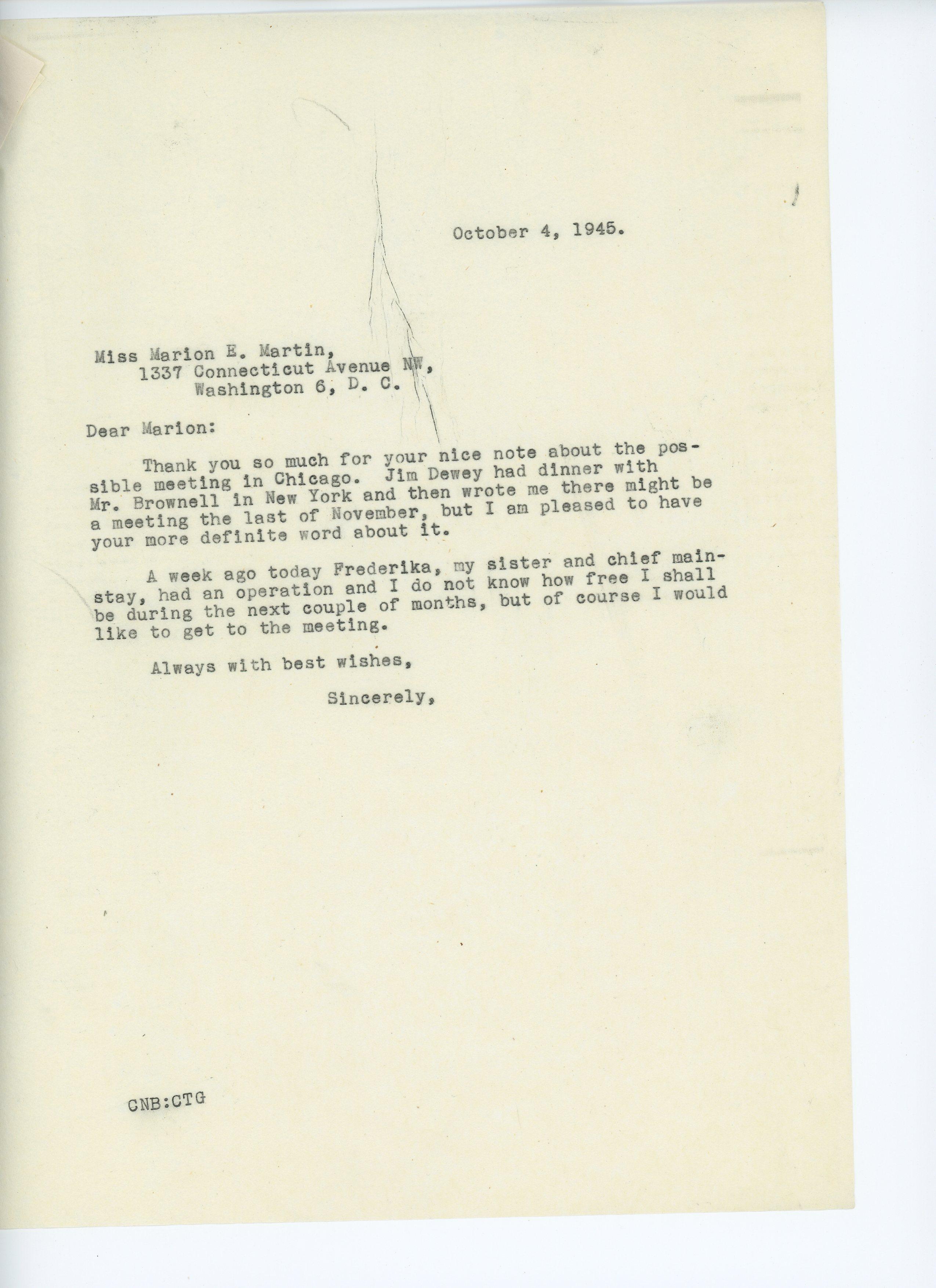 Consuelo Northrop Bailey to Marion E. Martin 1945 October 4