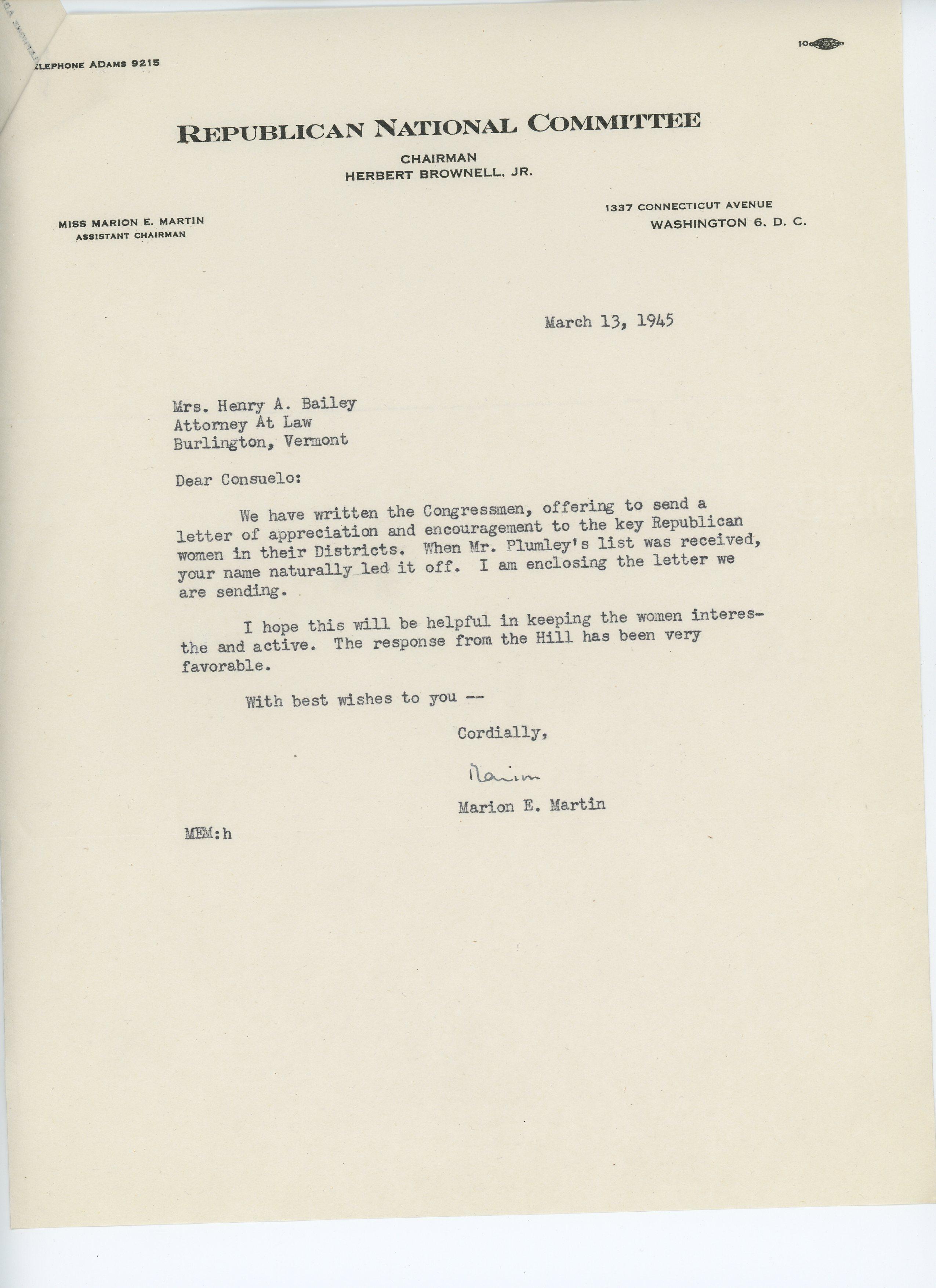 Marion E. Martin to Consuelo N. Bailey 1945 March 13