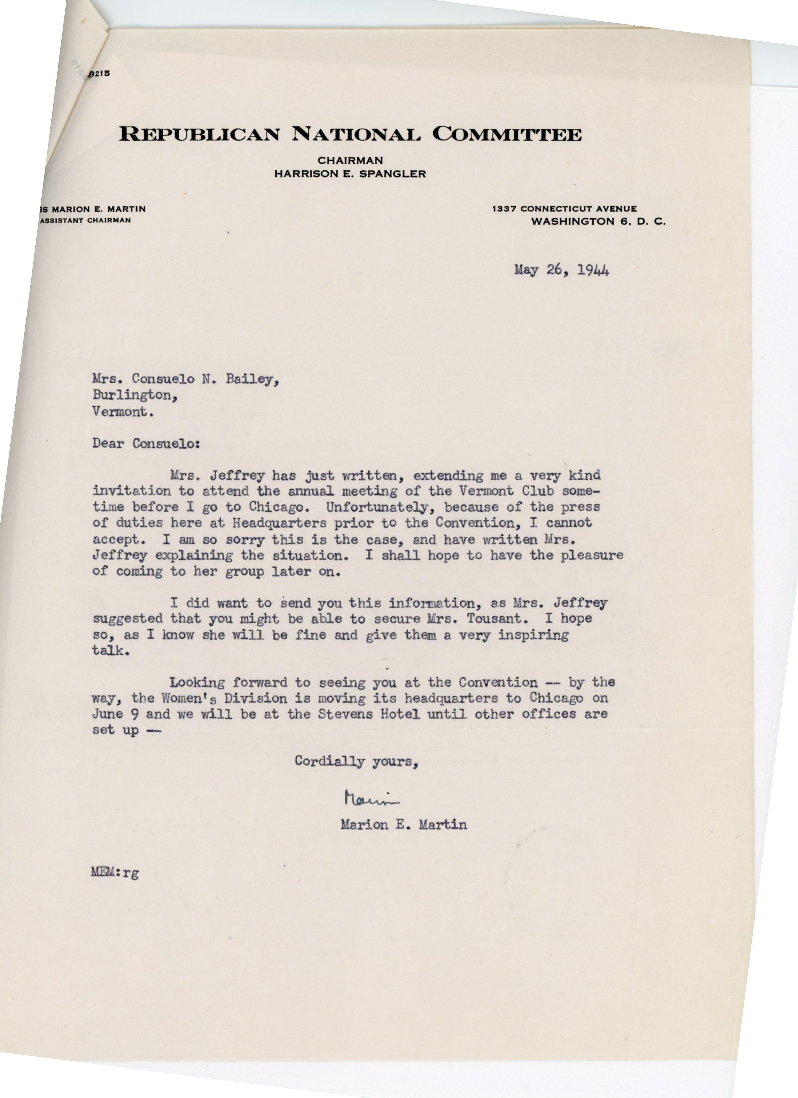 Marion E. Martin to Consuelo N. Bailey 1944 May 26