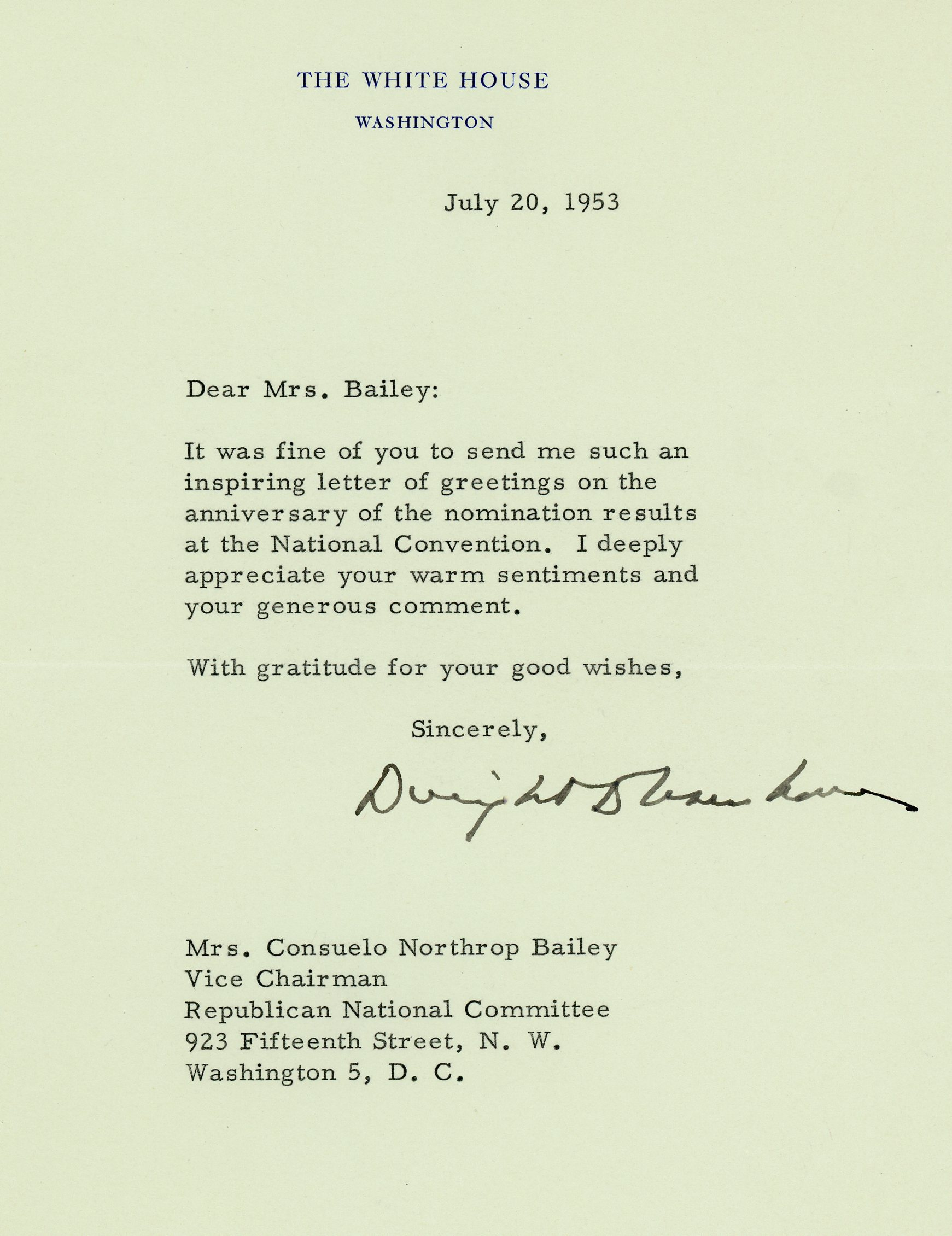 President Dwight D. Eisenhower to Consuelo Northrop Bailey, 1953 July 20