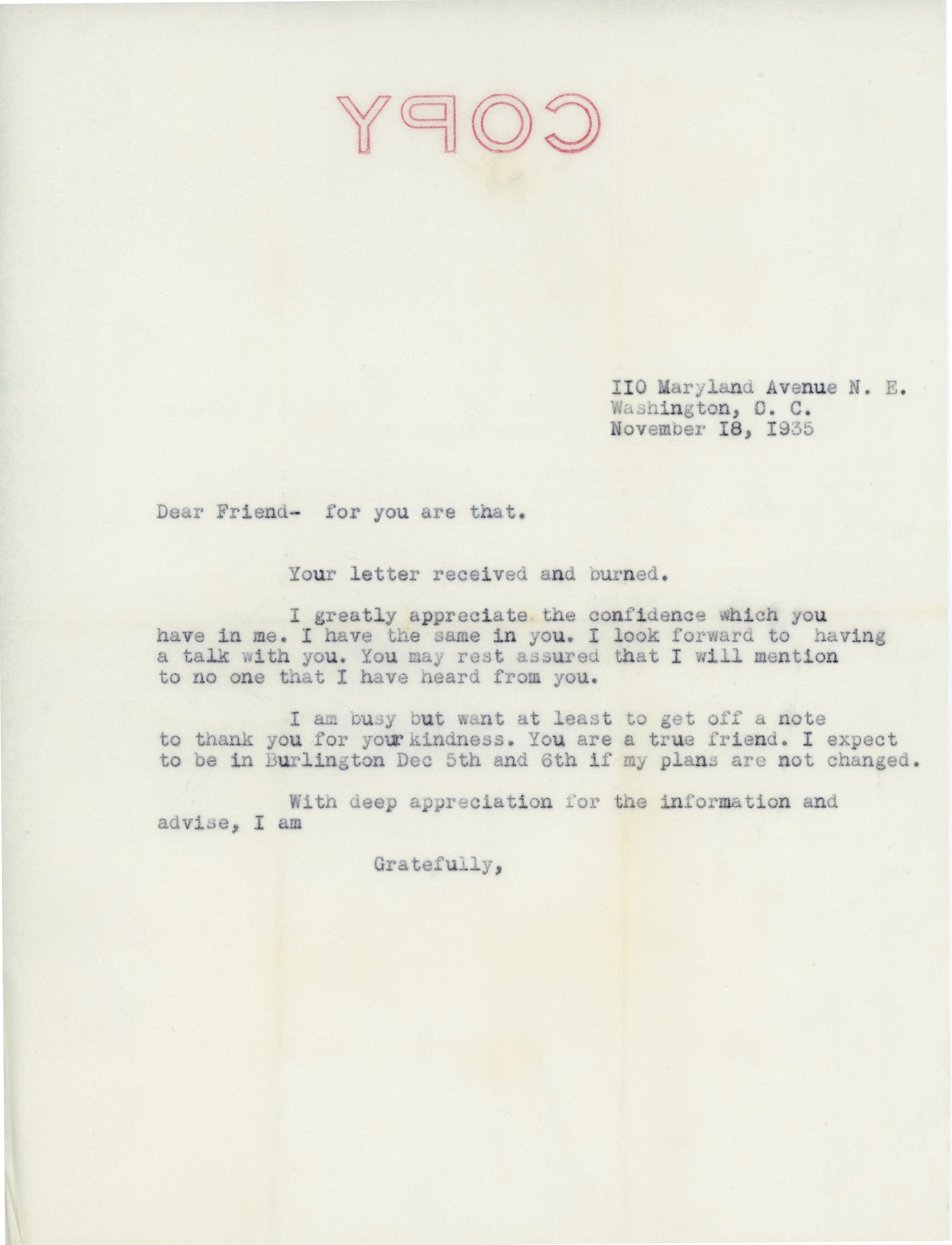 Consuelo N. Bailey  to Charles Plumley, 1936 November 18