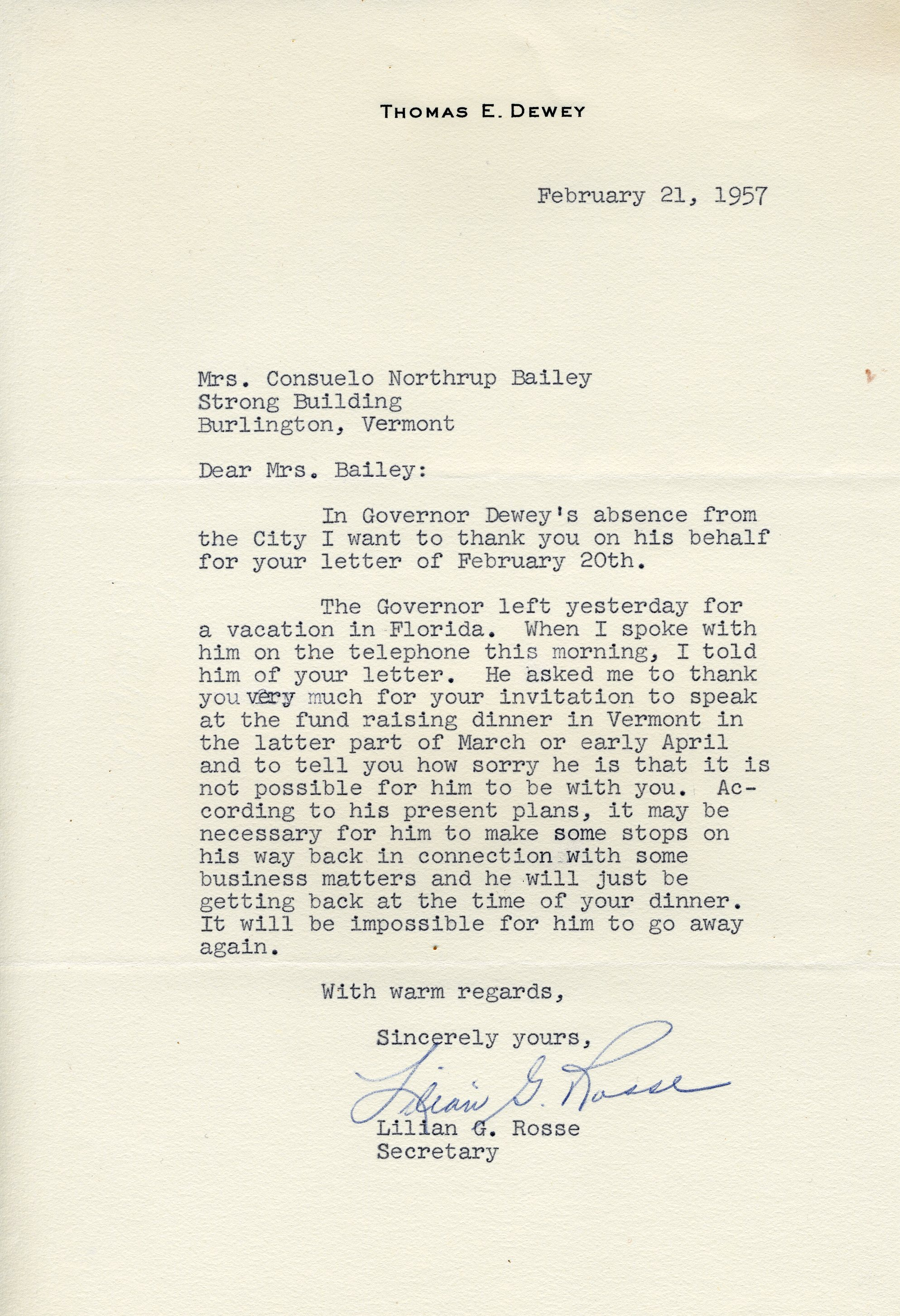 Letter from Lilian G. Rose to Consuelo Northrop Bailey, 1957 February 21