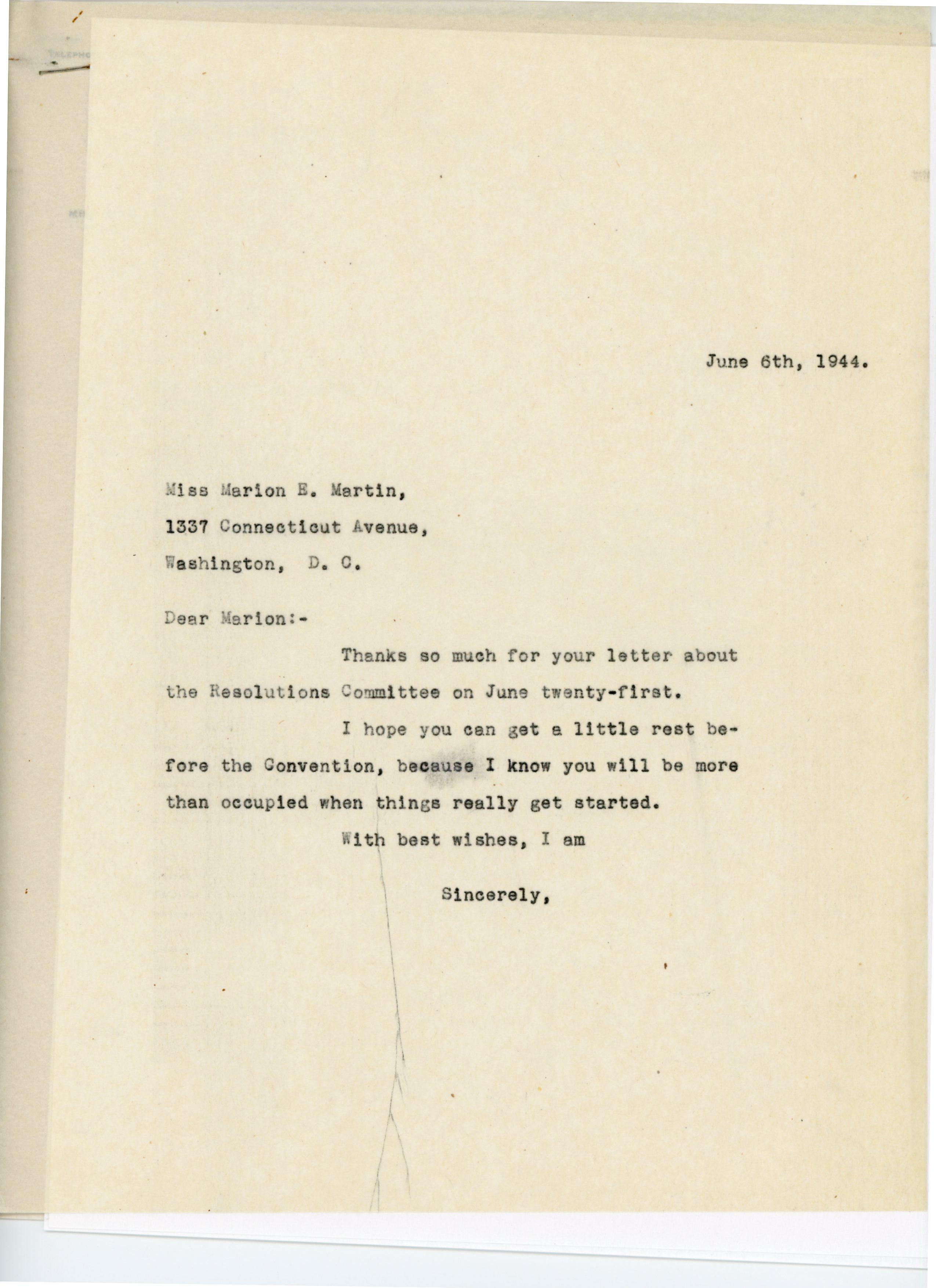 Consuelo N. Bailey to Marion E. Martin 1944 June 6